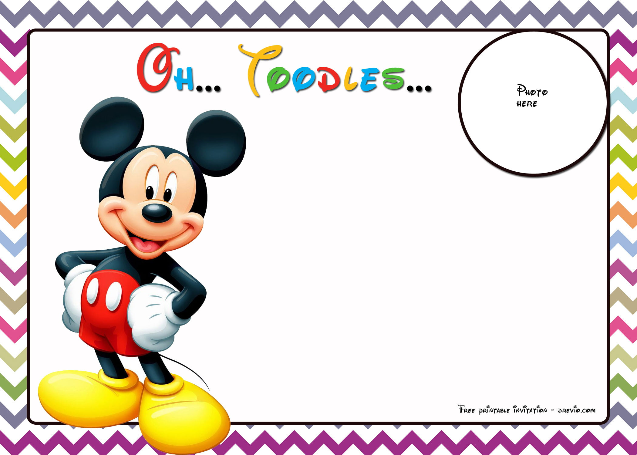 Free mickey mouse birthday invitations template chevron edition click on your desired invitation then download filmwisefo