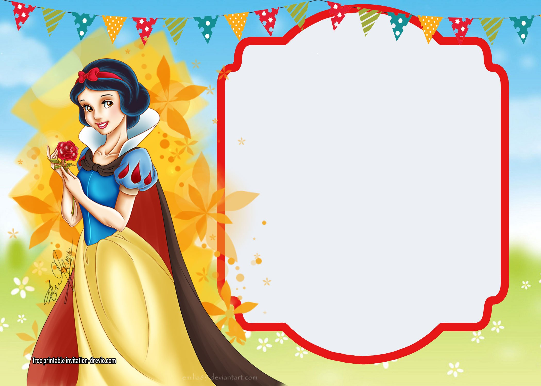 Striking image with regard to snow white invitations printable