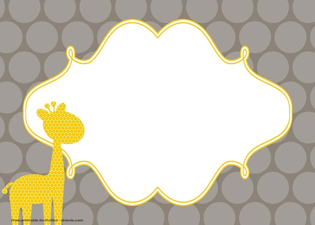 free giraffe birthday and baby shower invitation templates