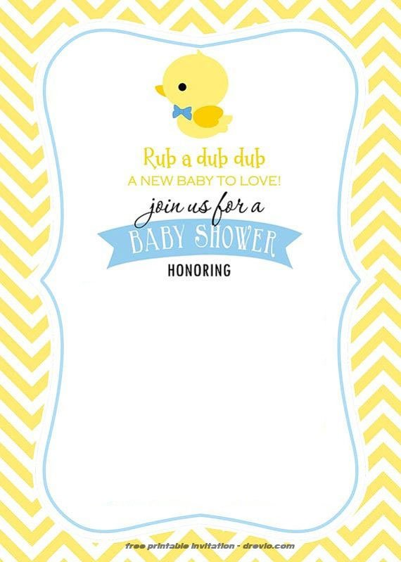 FREE Printable Rubber Duck Invitation Template FREE Invitation