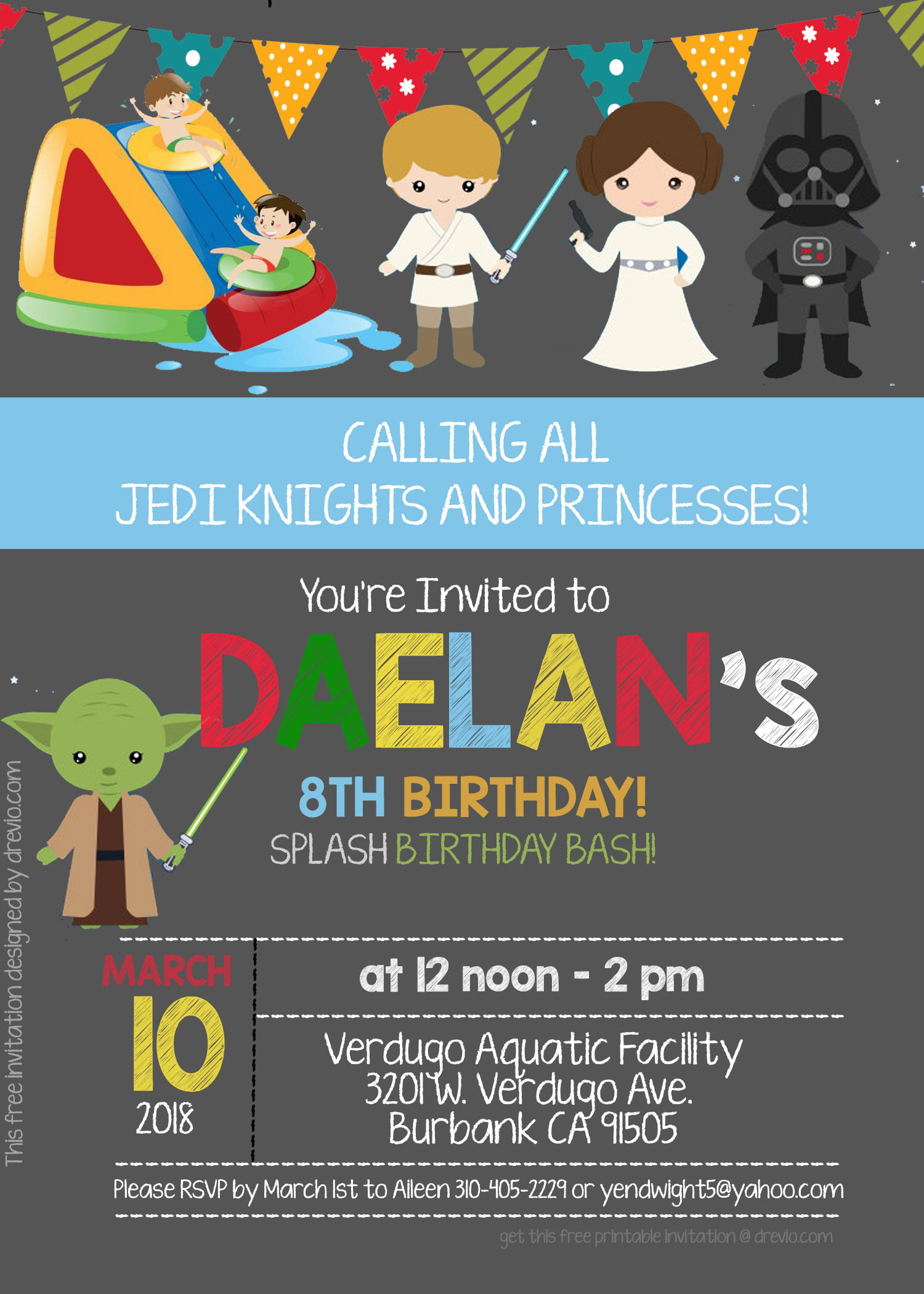 FREE Star Wars Pool Party Invitation Template – PSD | FREE ...