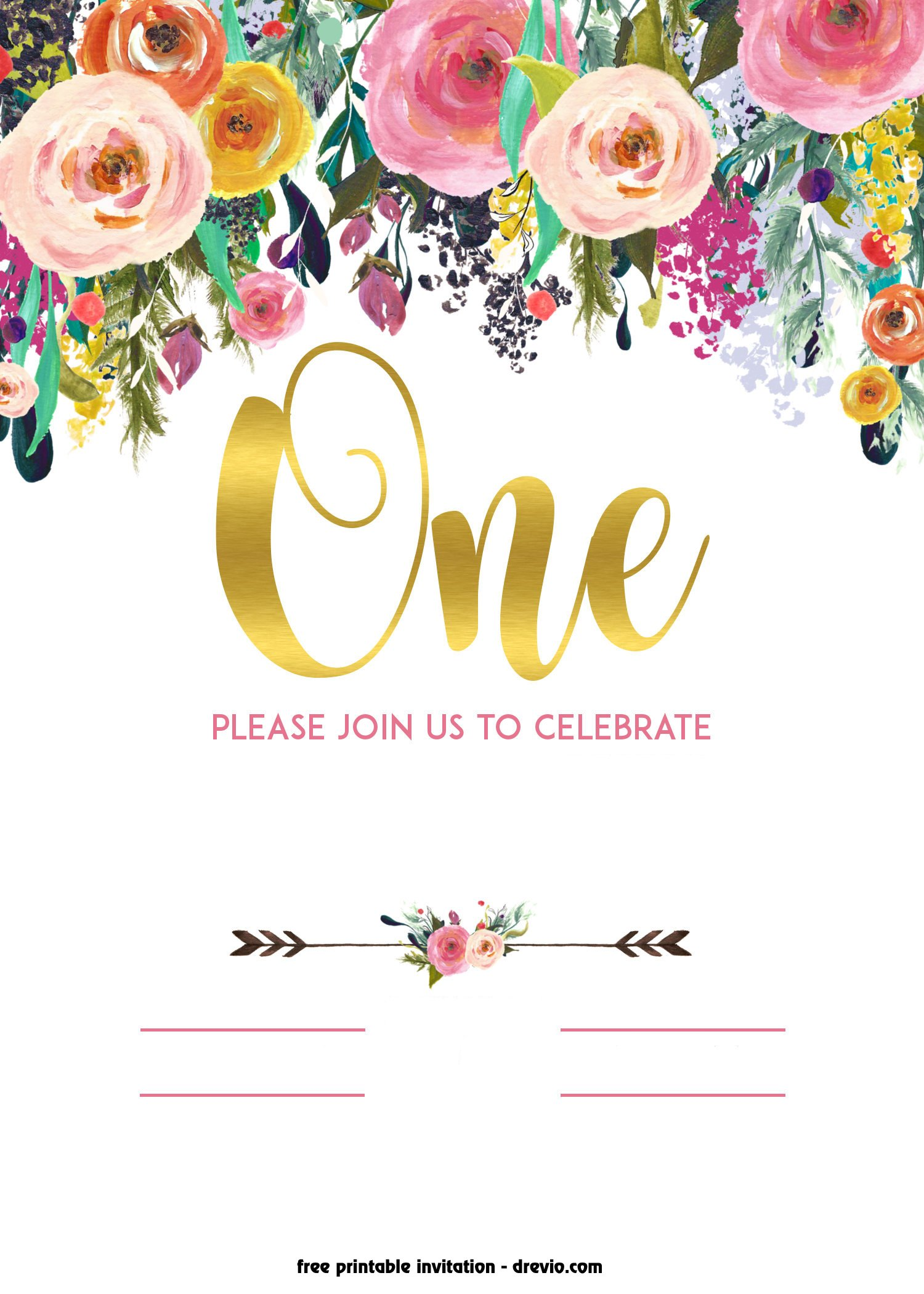 FREE Printable 1st Birthday Invitation