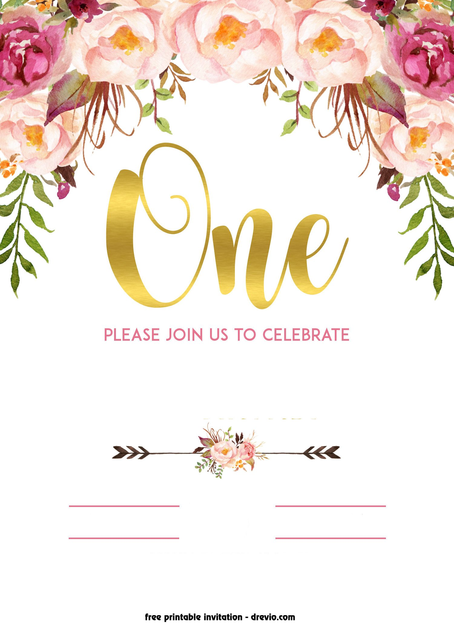 free printable 1st birthday invitation  u2013 vintage style