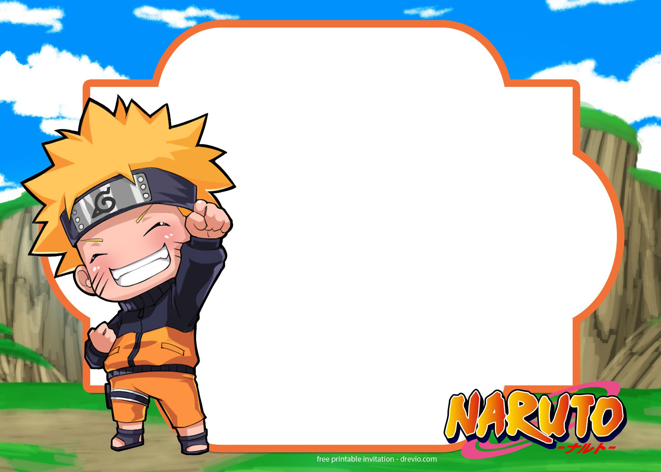FREE Printable Naruto Birthday Invitation Template | FREE Invitation ...