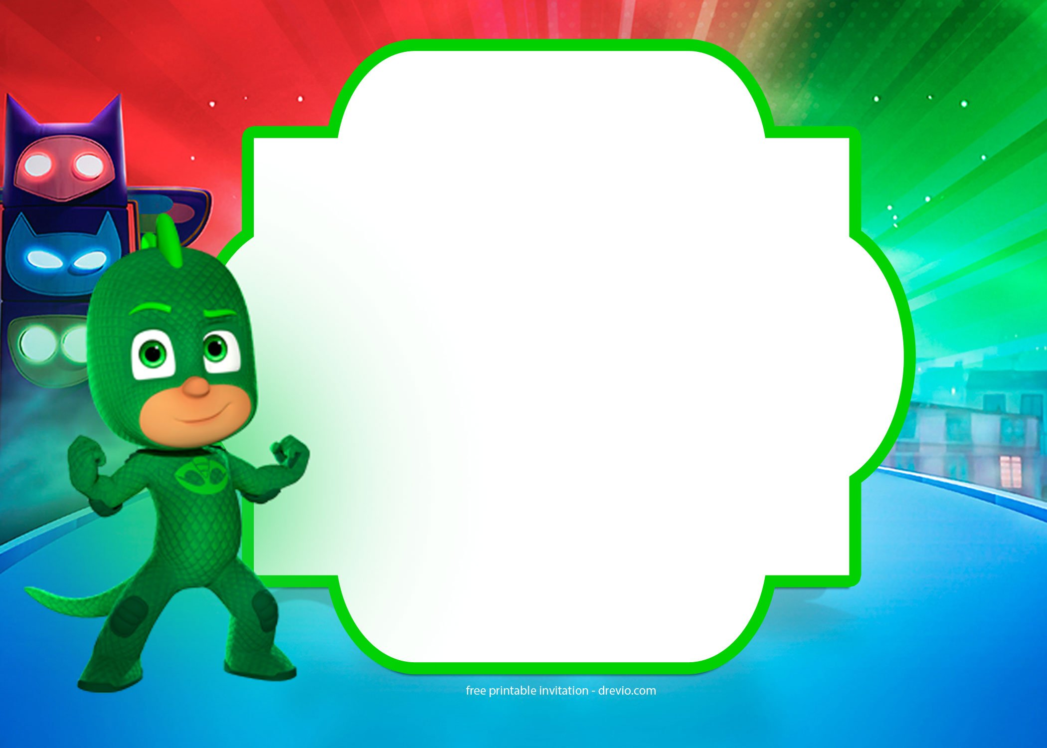Our Latest PJ Masks Invitation Templates