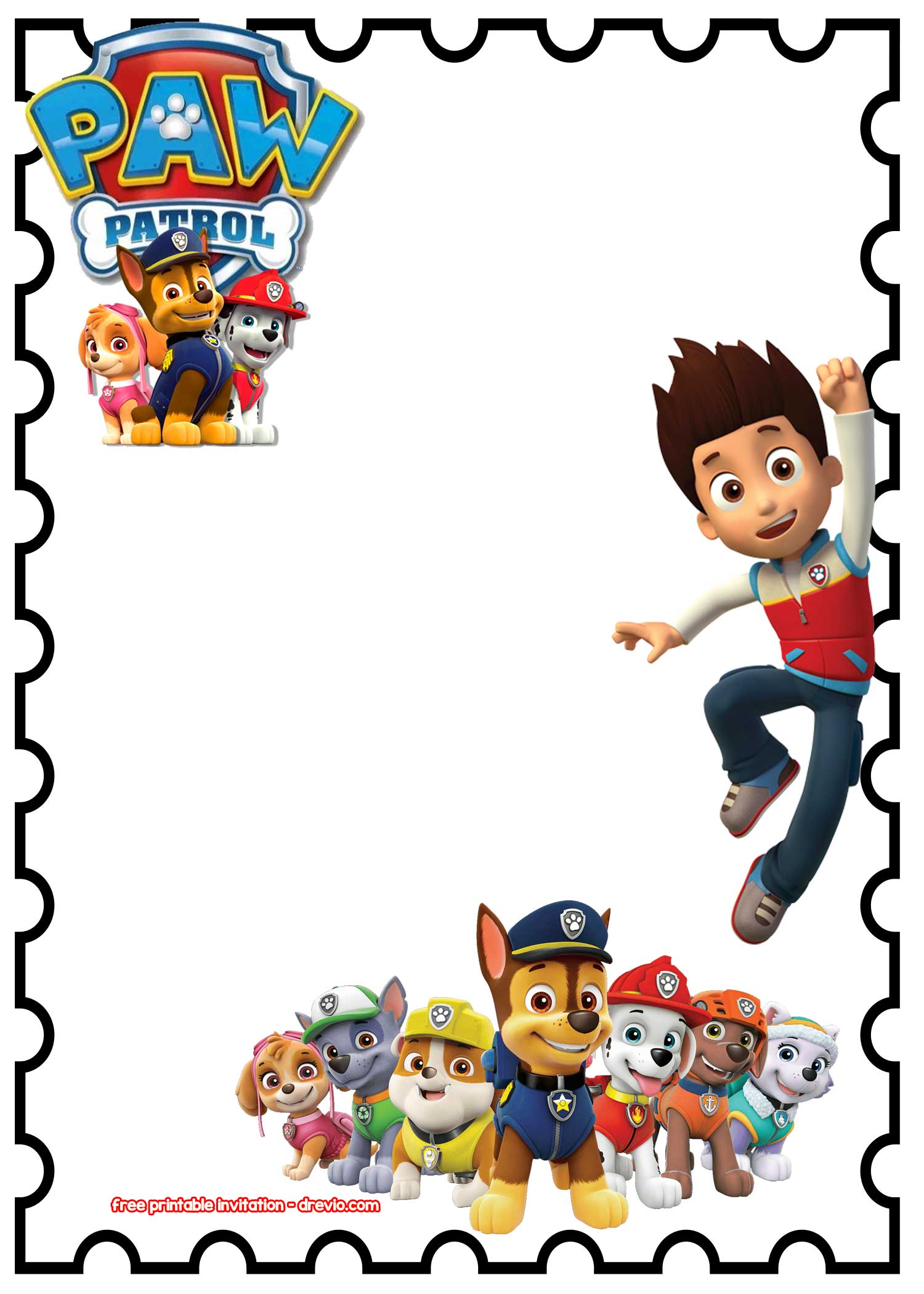 FREE Printable Paw Patrol Birthday Invitation Chalkboard PSD - Paw patrol invitation template
