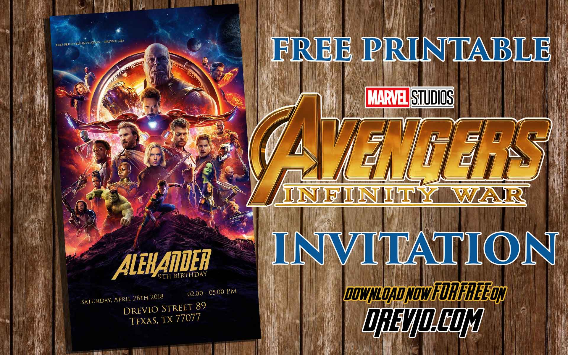 image regarding Free Printable Super Hero Invitations called Cost-free Printable Avengers Infinity Wars Birthday Invitation