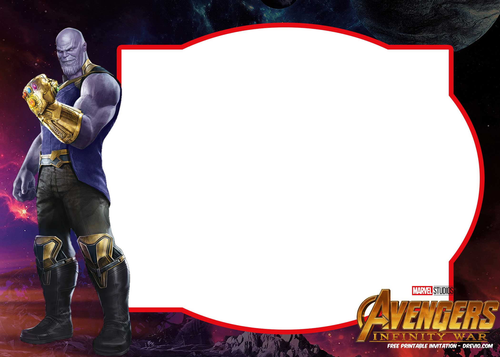 Avengers Infinity Wars Hulk Invitation Template