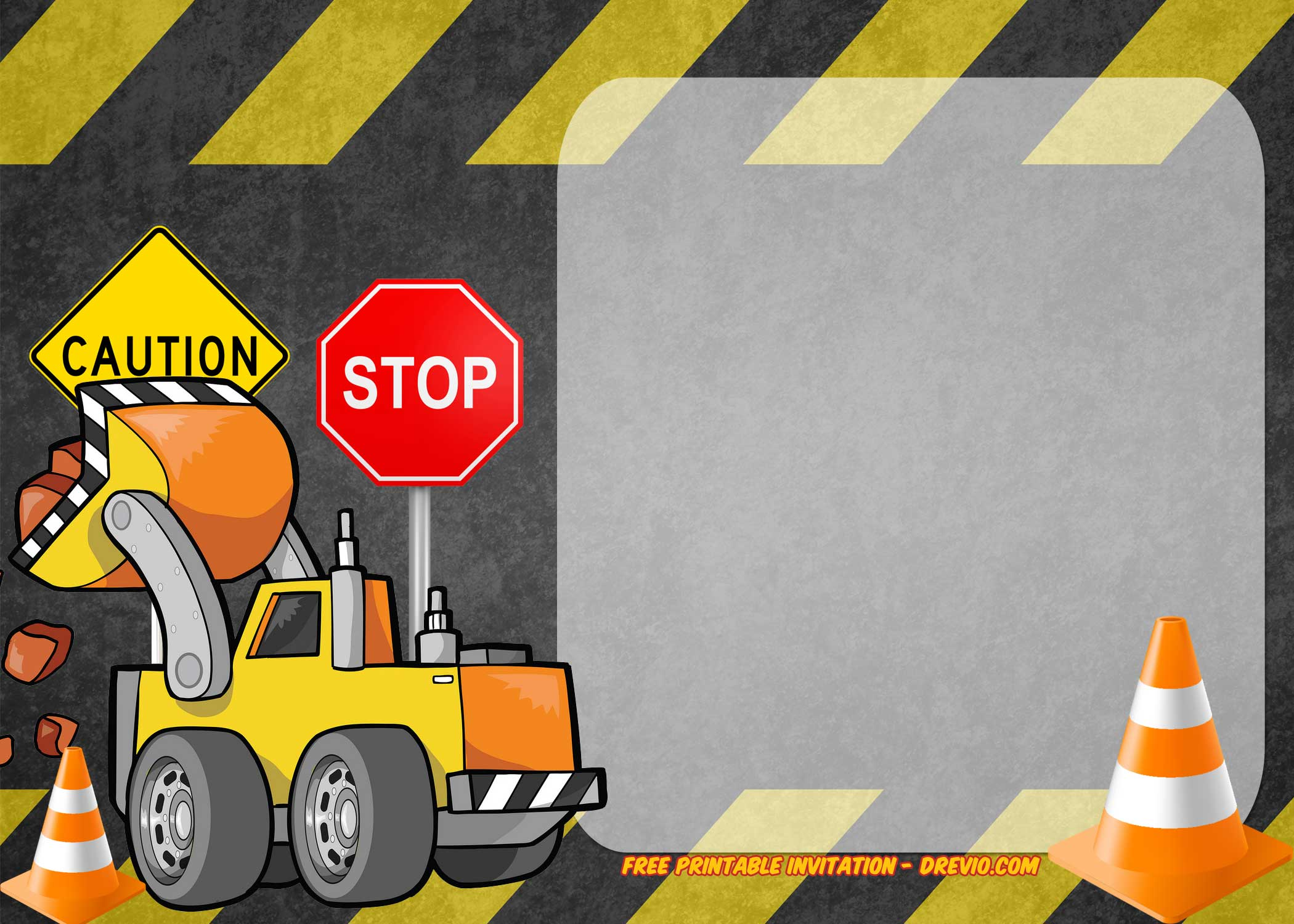 free printable construction vehicles birthday invitation