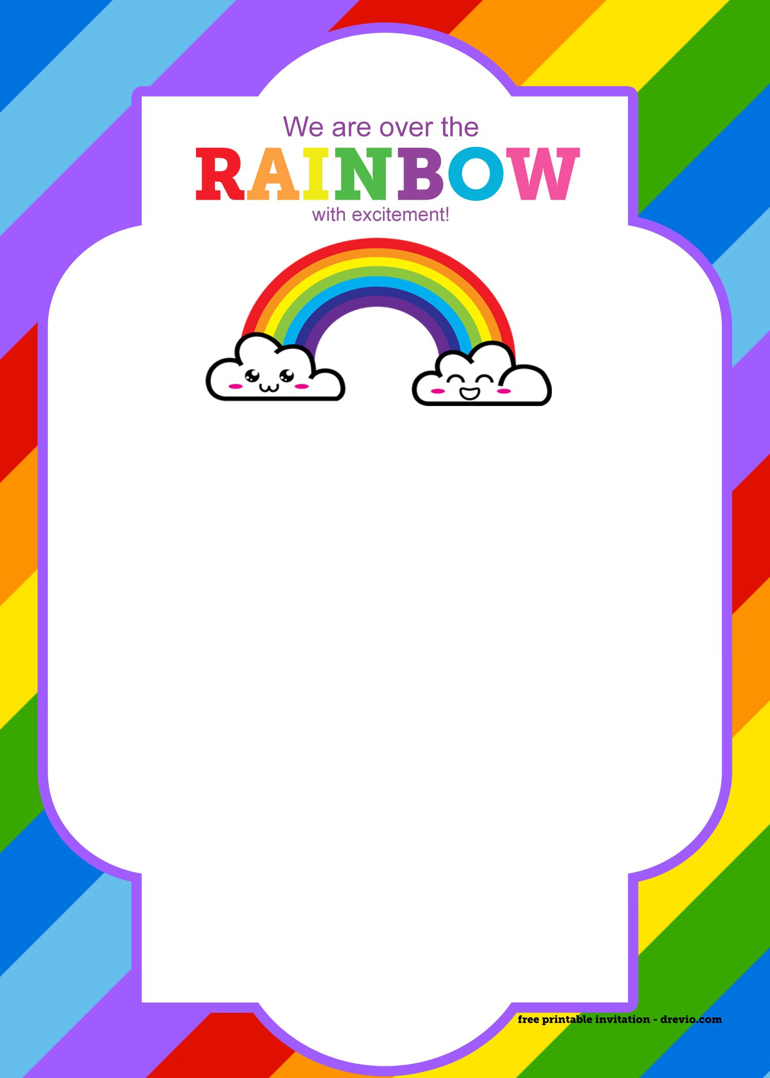 free printable rainbow invitation template   thank you card  u2013 free printable birthday invitation