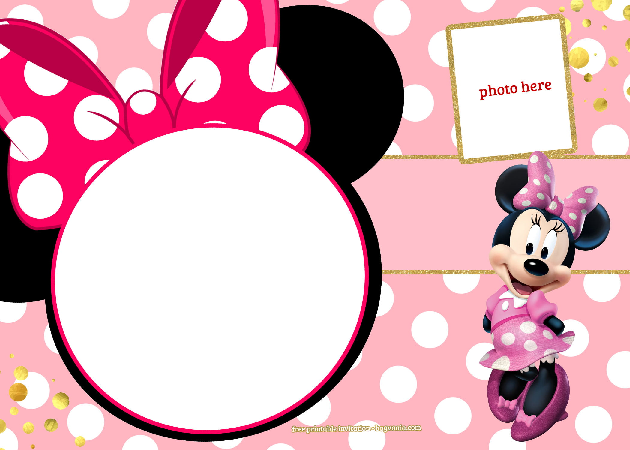 Free Printable Minnie Mouse Pinky Birthday Invitation