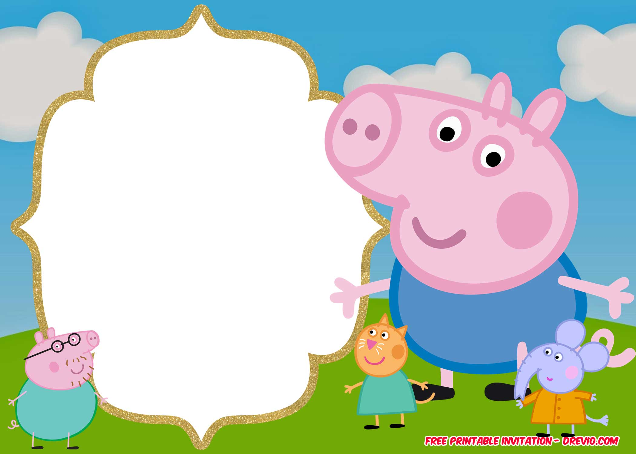 free printable peppa pig invitation template