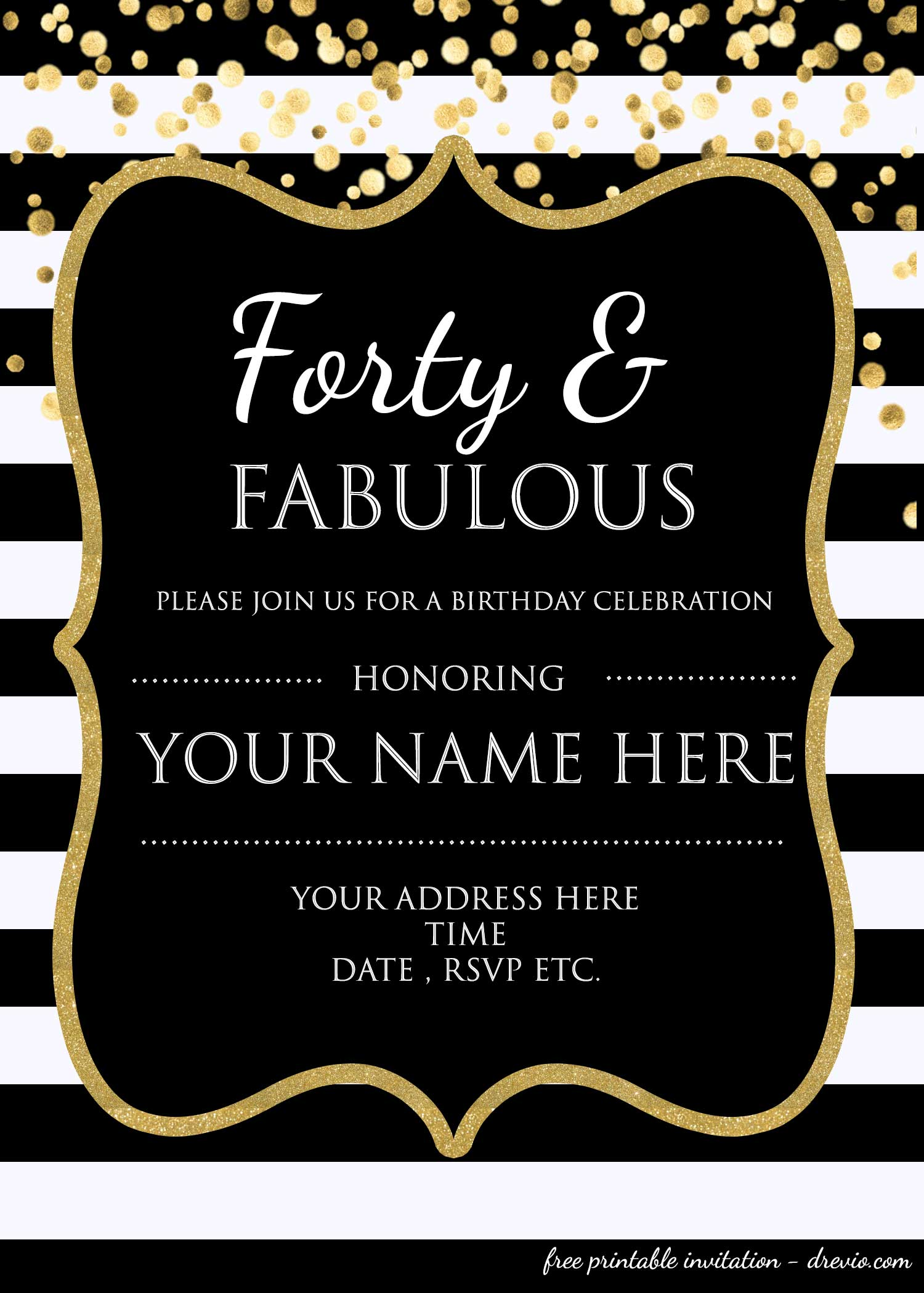 Forty & Fabulous : 40th Birthday Invitation Template – PSD ...