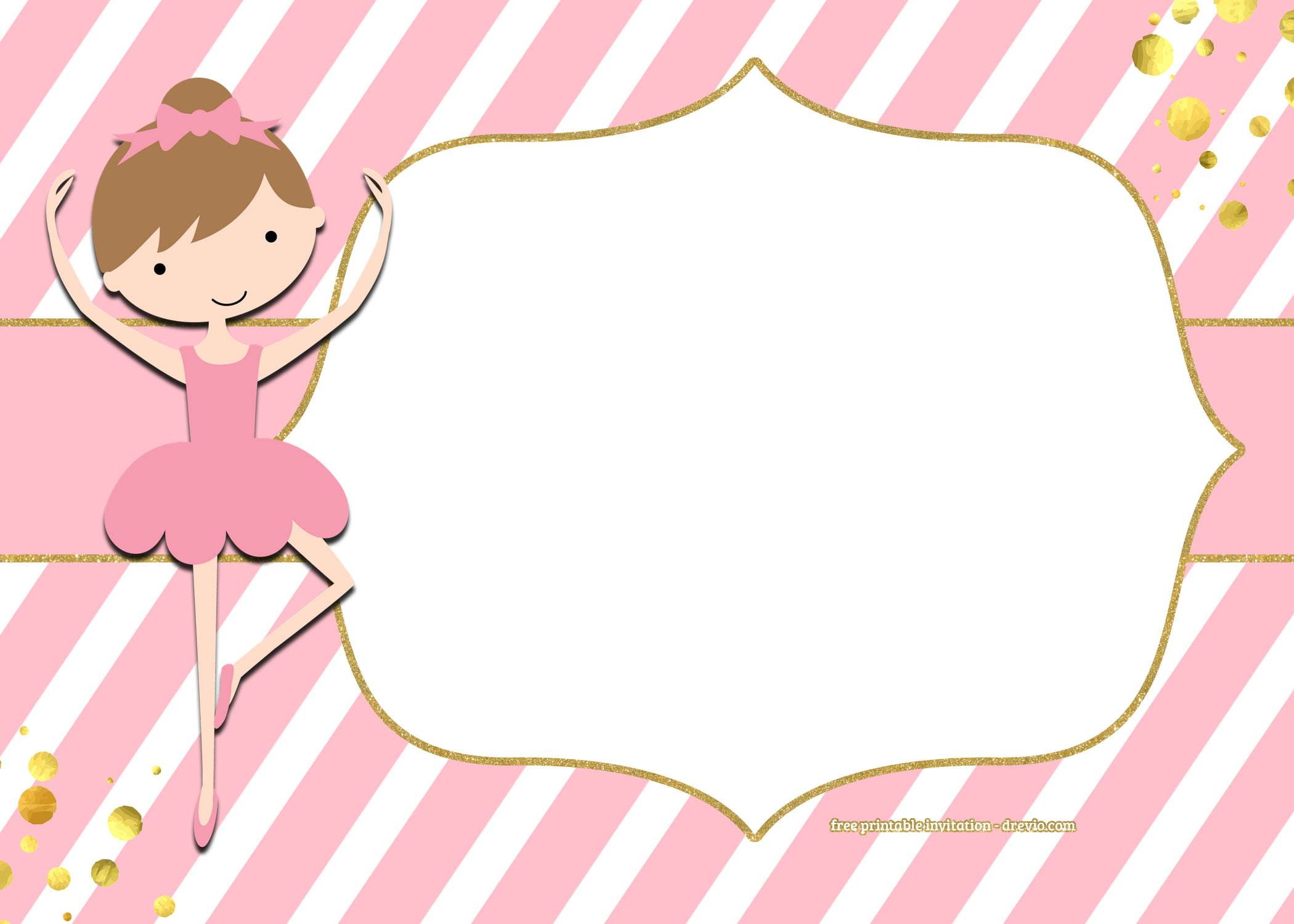 Free Golden Ballerina Birthday Invitation Templates Free
