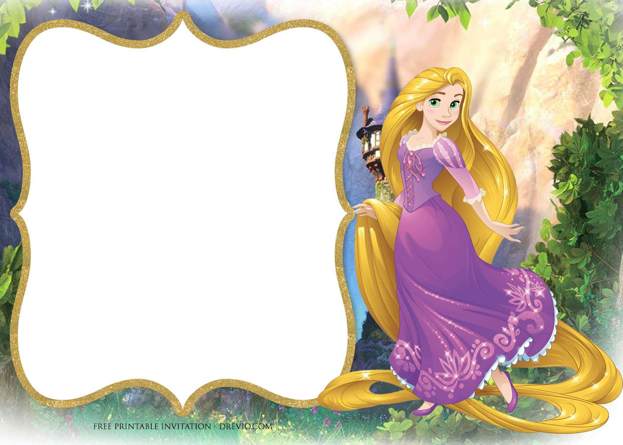 photograph regarding The Printable Princess identify Totally free Printable Princess Rapunzel Invitation Templates - No cost