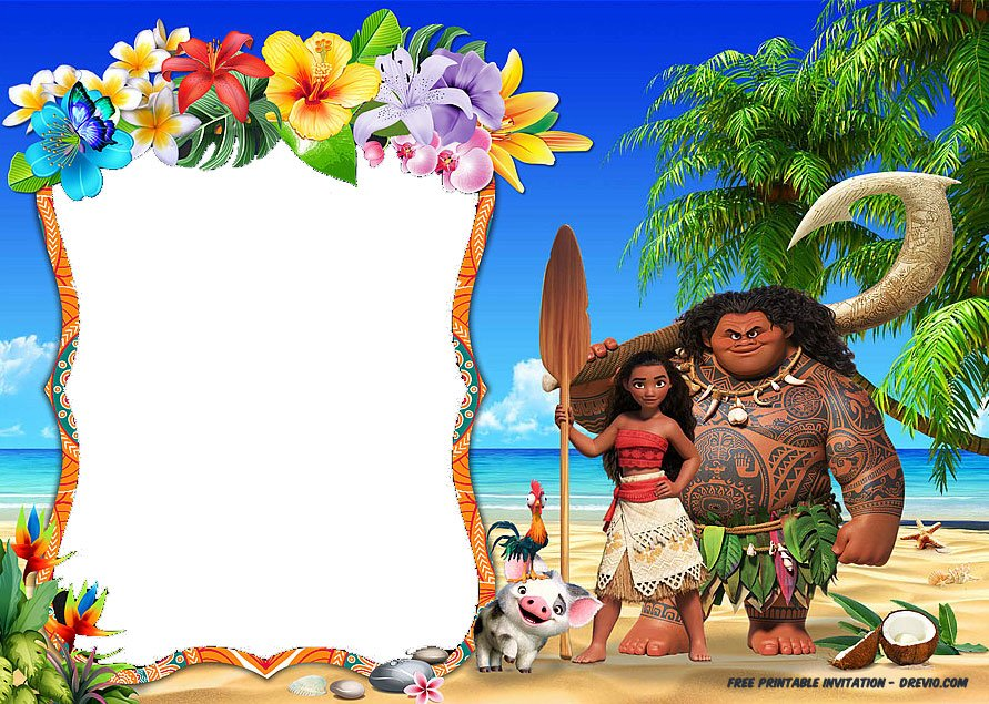 Free Moana Birthday Invitation Template | FREE Invitation ...