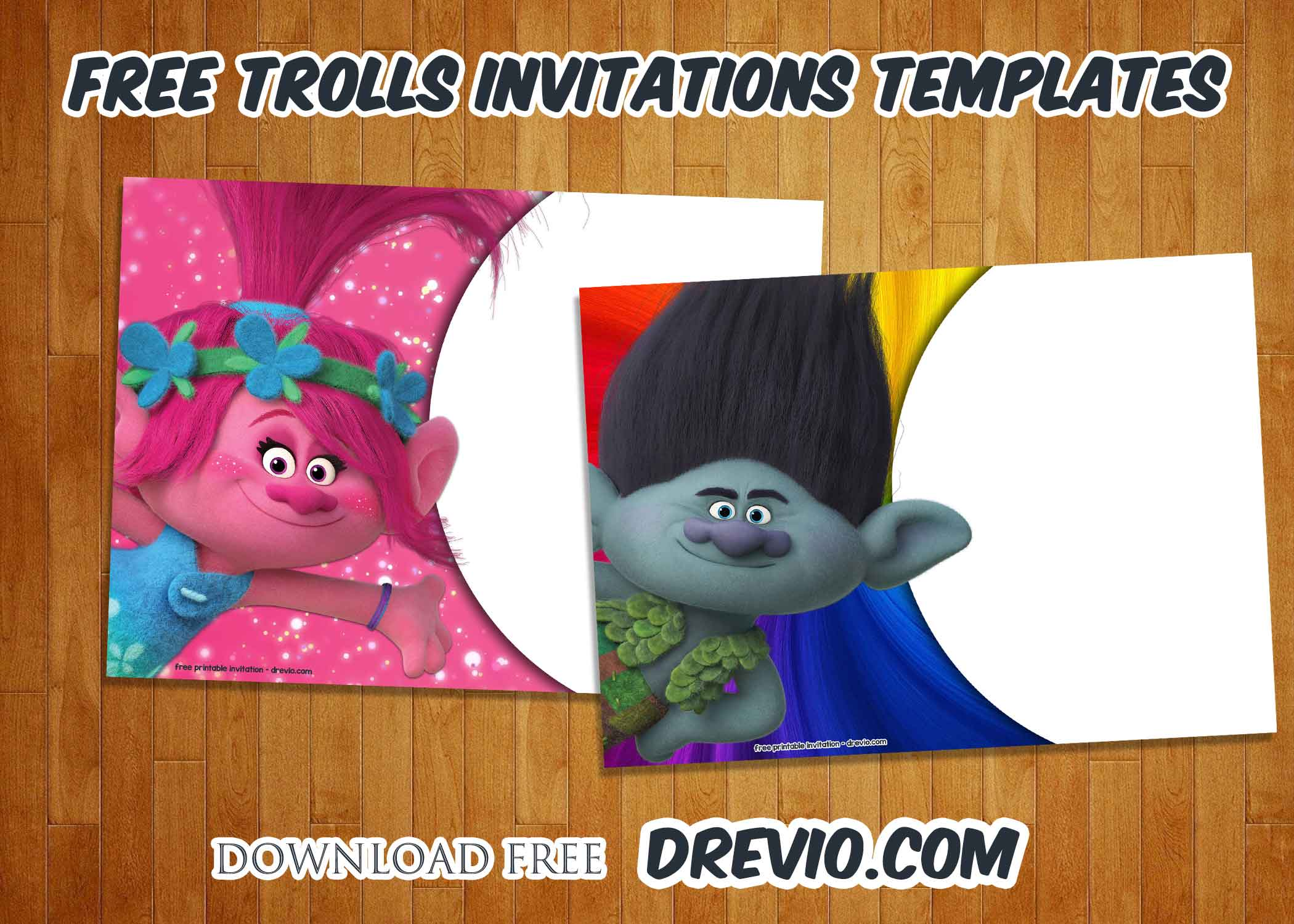 FREE Trolls Birthday Invitations Templates