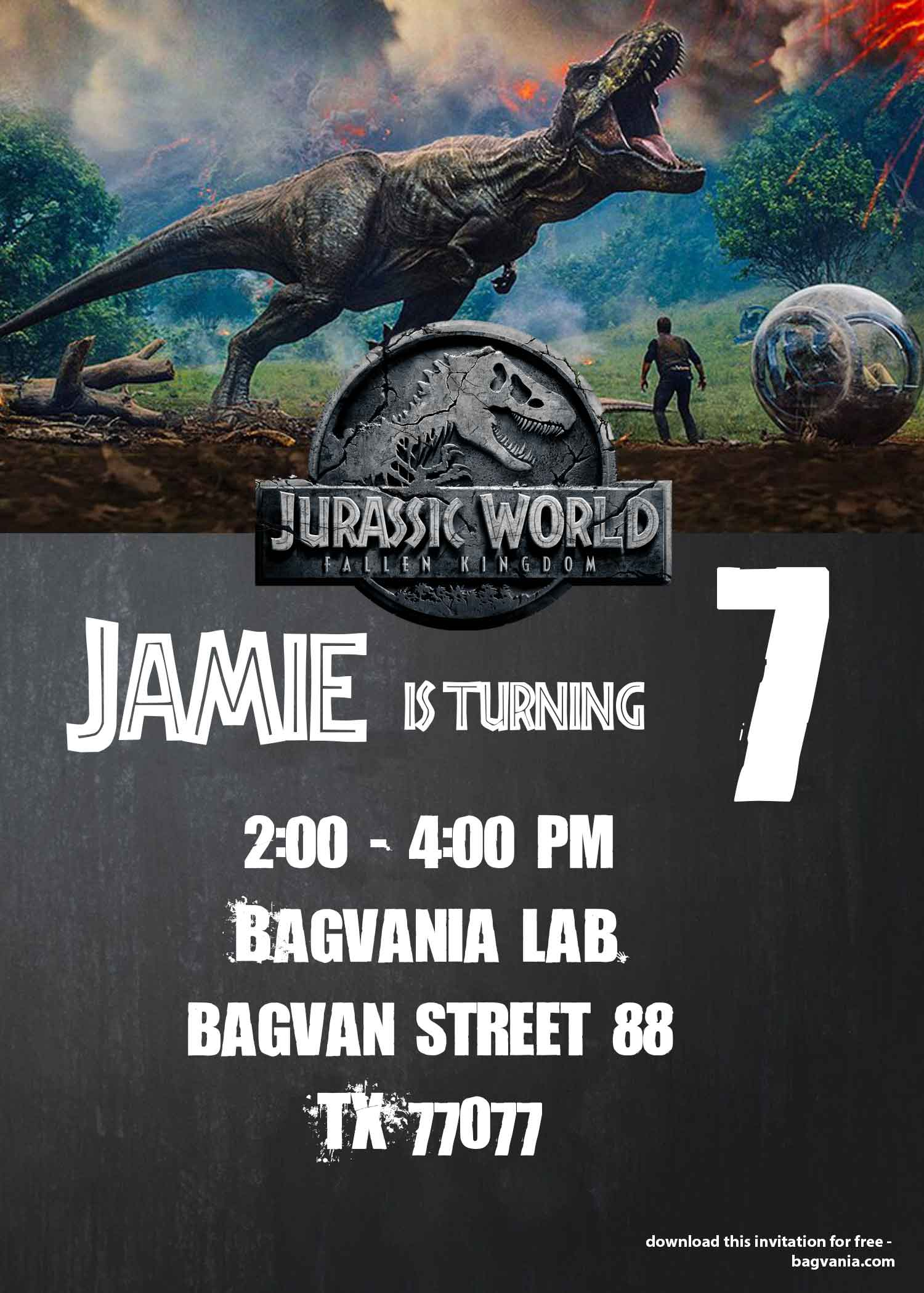 Jurassic world fallen kingdom birthday party ideas free the first thing i did was to check out drevio we download our free jurassic park birthday invitation template you can download it below maxwellsz