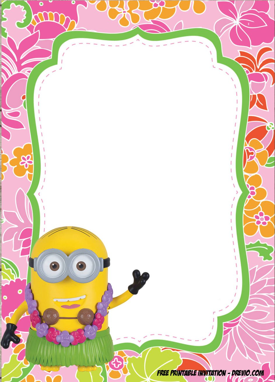 Free Minions Luau Birthday Invitation Template Special For Summer
