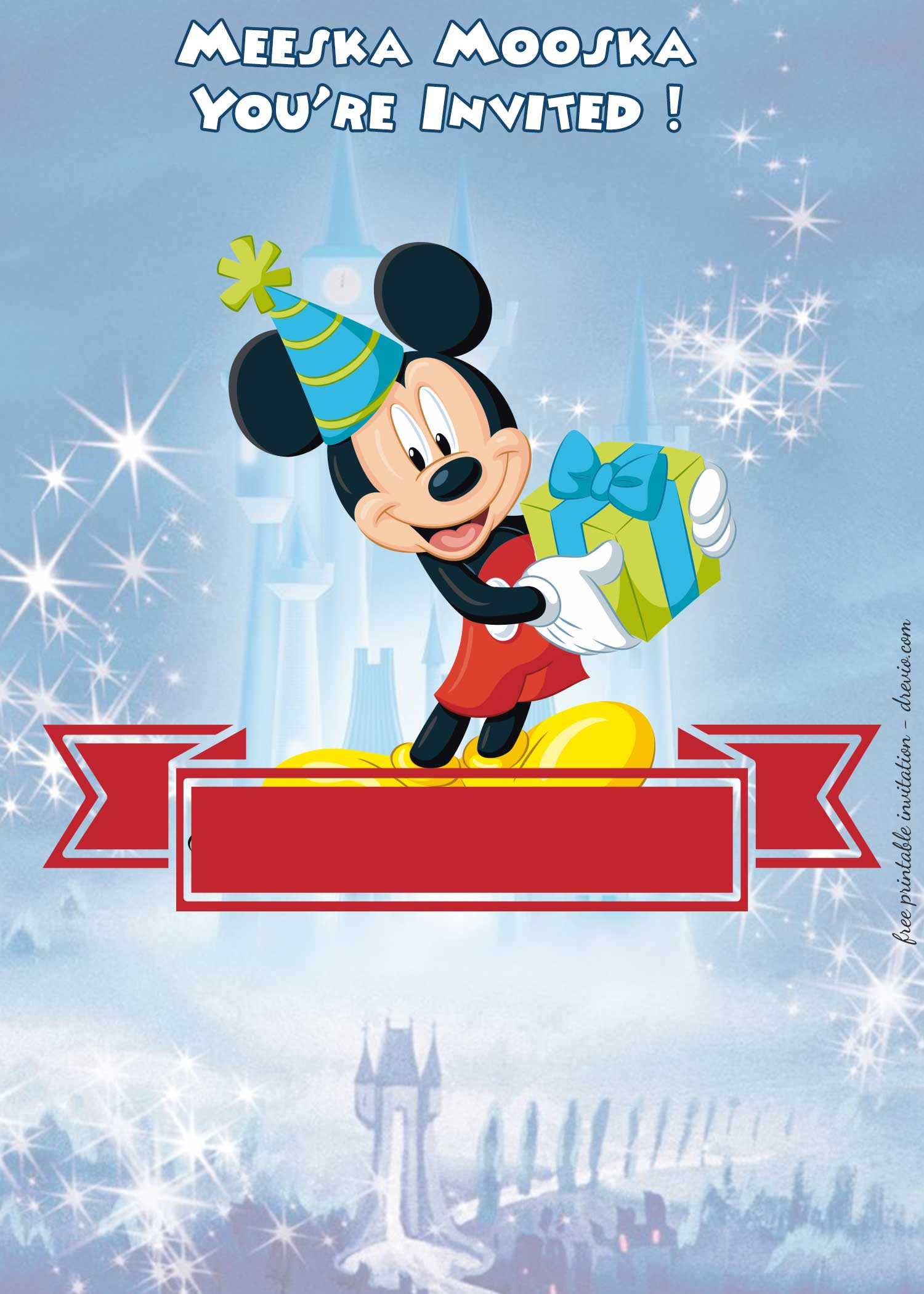 free mickey mouse clubhouse  u2013 disney castle invitation