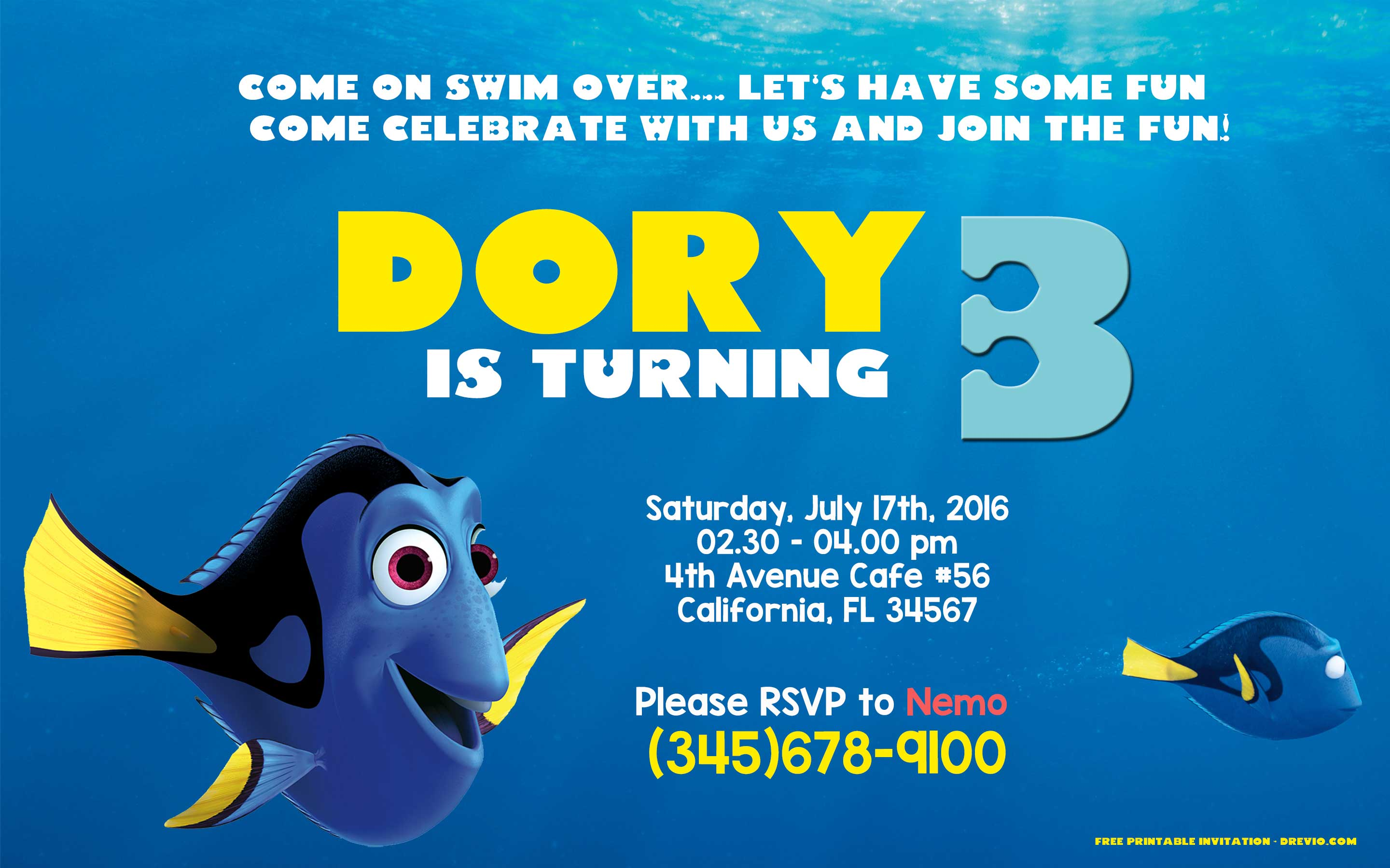 FREE Editable Finding Dory Birthday Invitation PSD Template