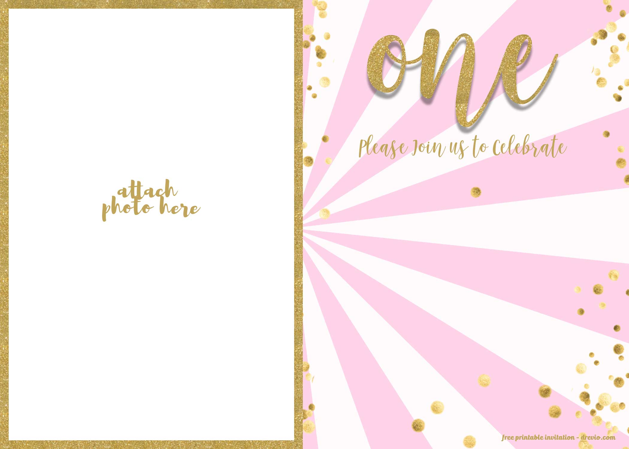 free 1st birthday invitation pink and gold glitter