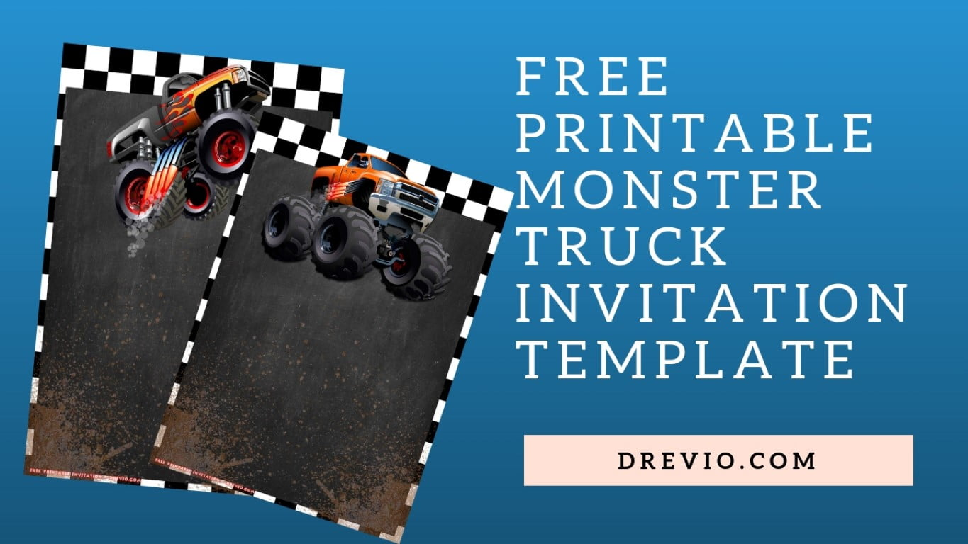 free printable monster truck invitation templates
