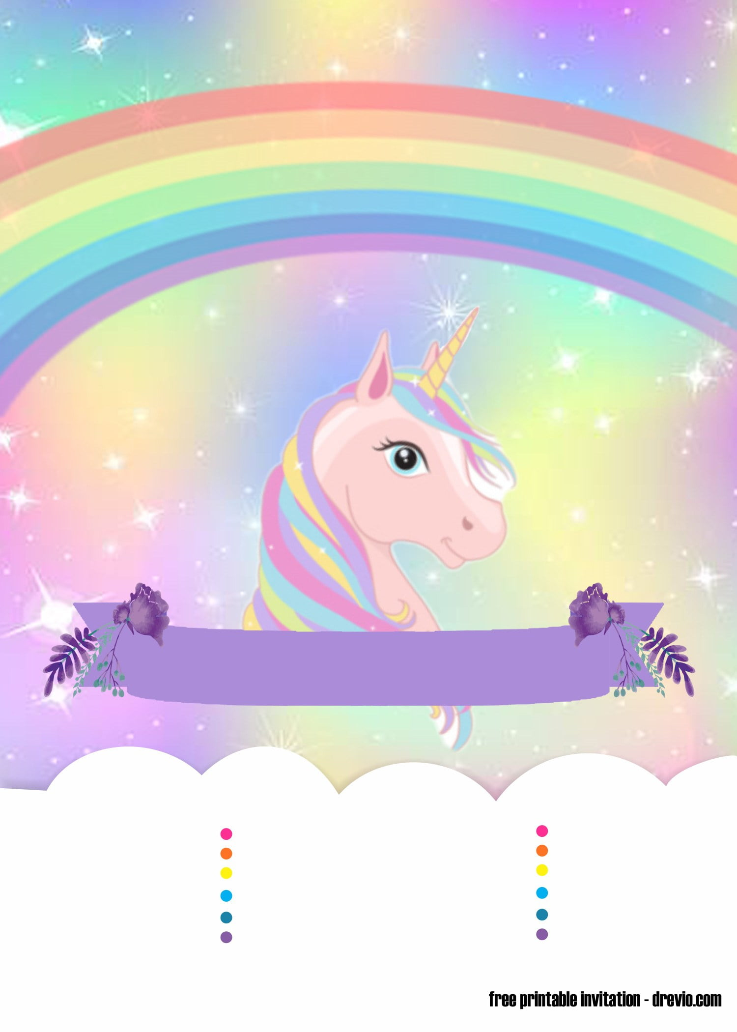 sweet party with rainbow unicorn invitation template