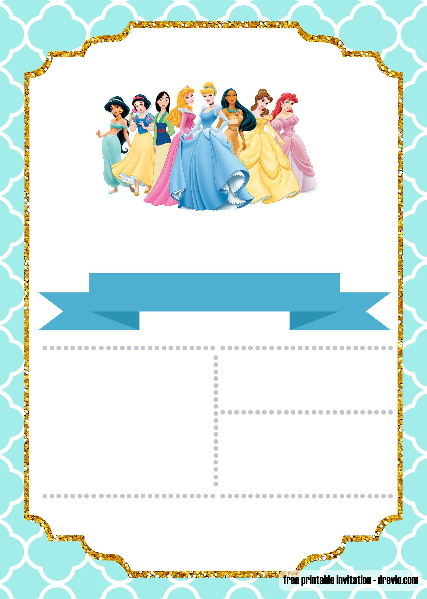 free disney princess invitation template for your little girl u0026 39 s birthday  u2014 free invitation
