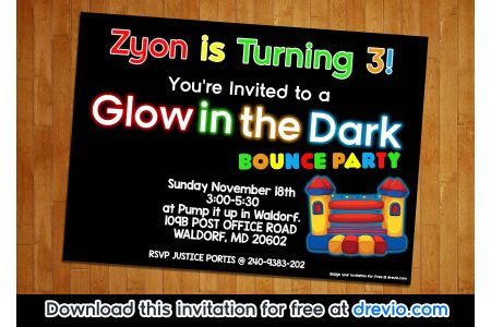 FREE Printable Glow in The Dark Bounce Party Invitation