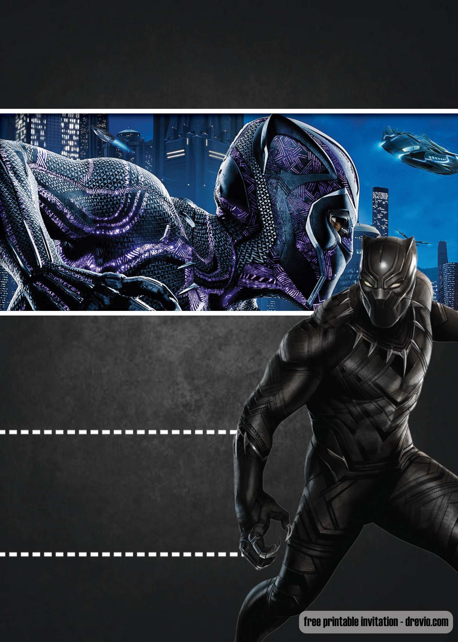 free black panther invitation template