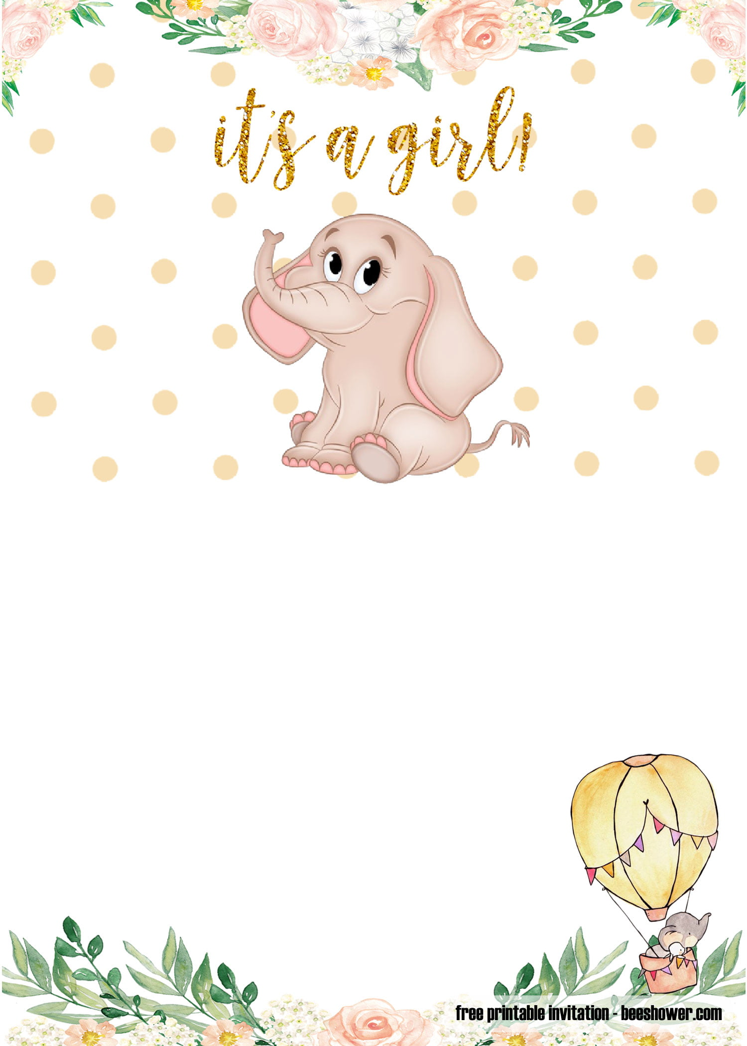 free printable elephant baby shower invitations templates
