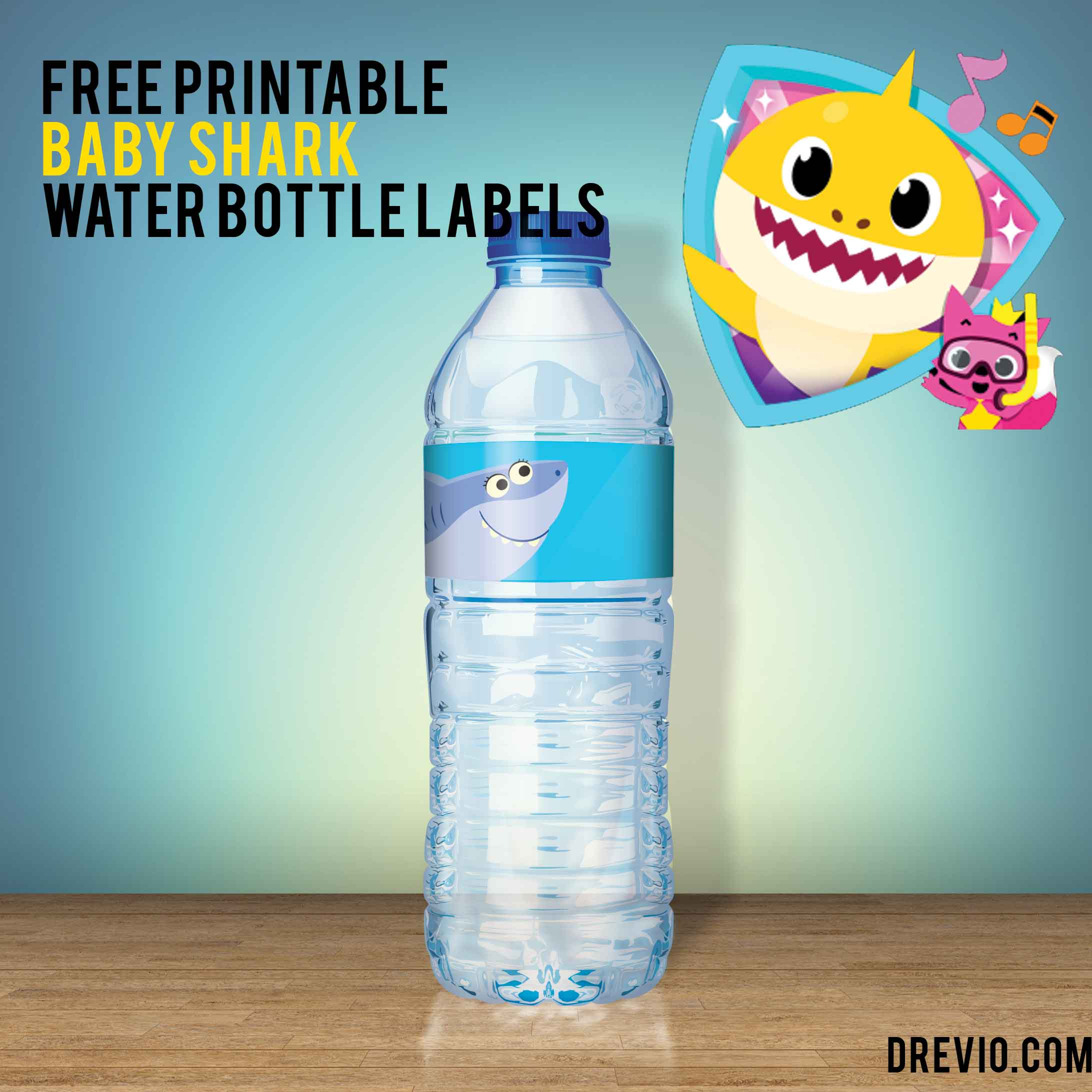Free Pinkfong Baby Shark Water Bottle Labels