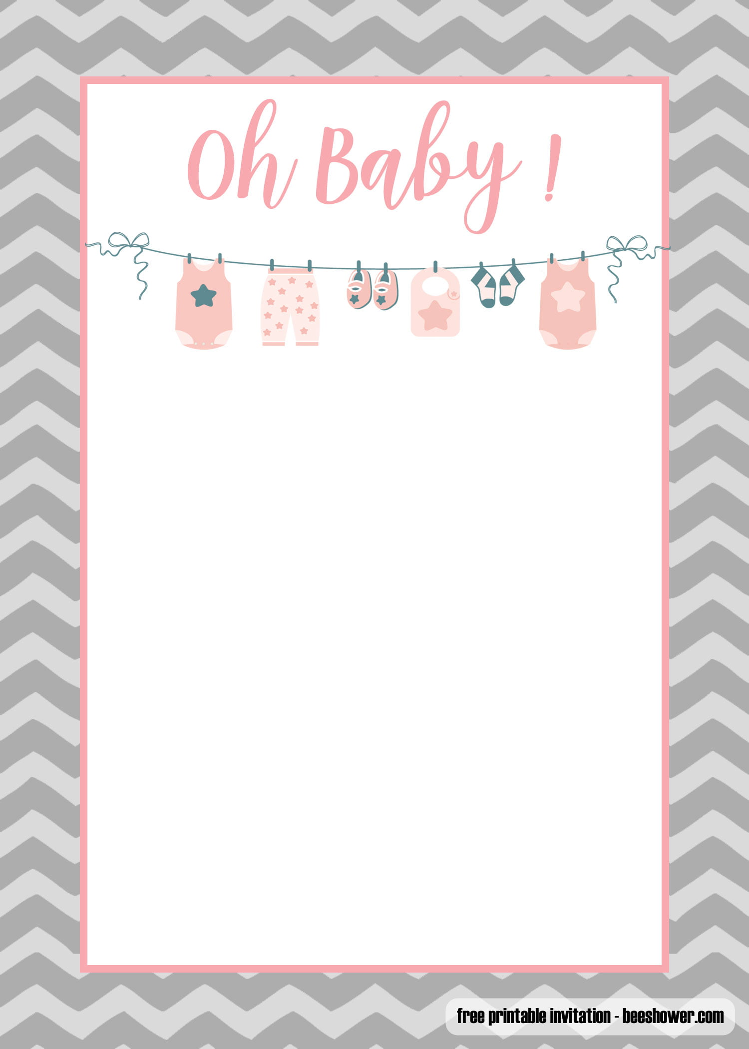 Unforgettable image with free printable baby shower invitations templates