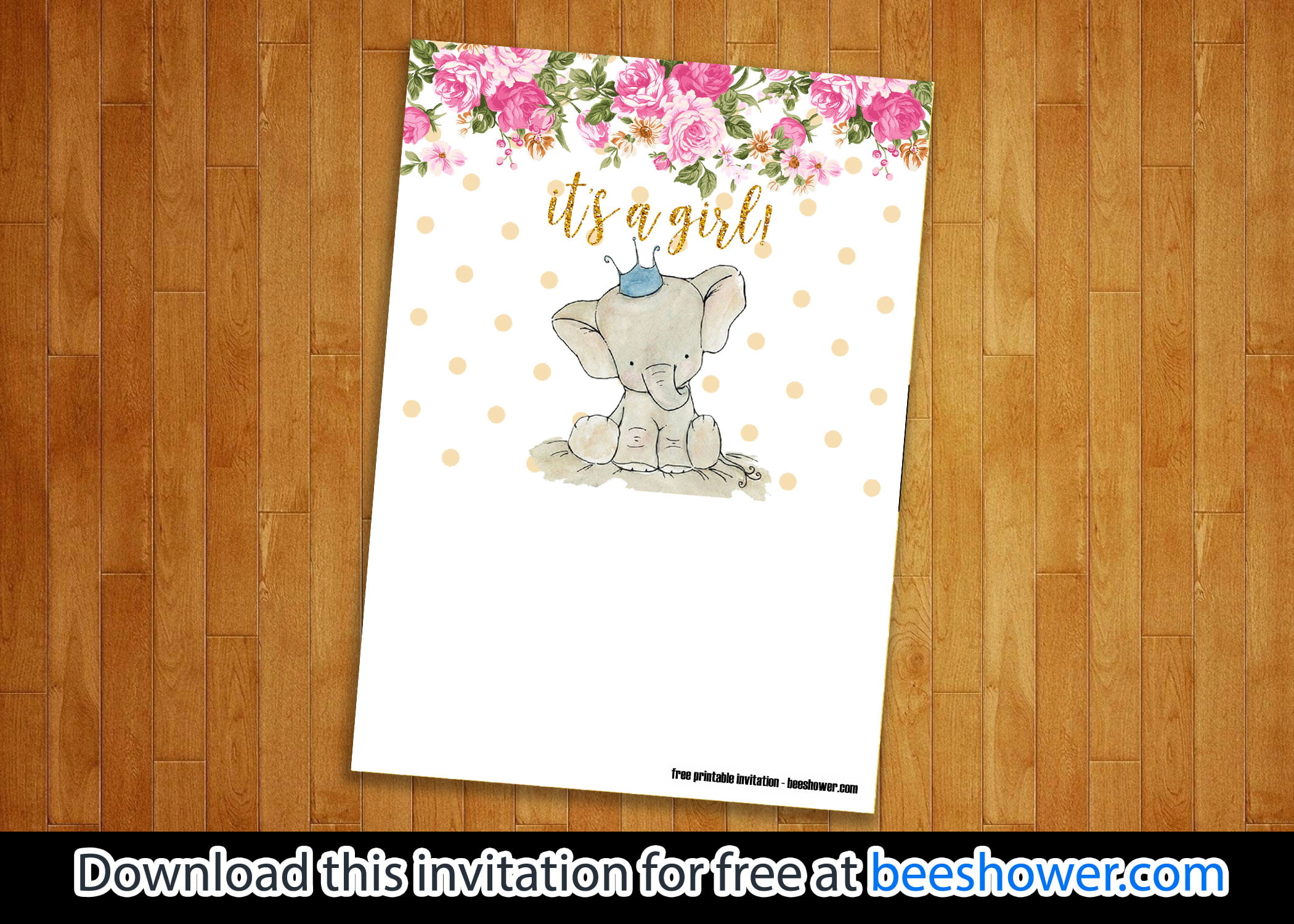 free pink elephant invitation templates for baby shower