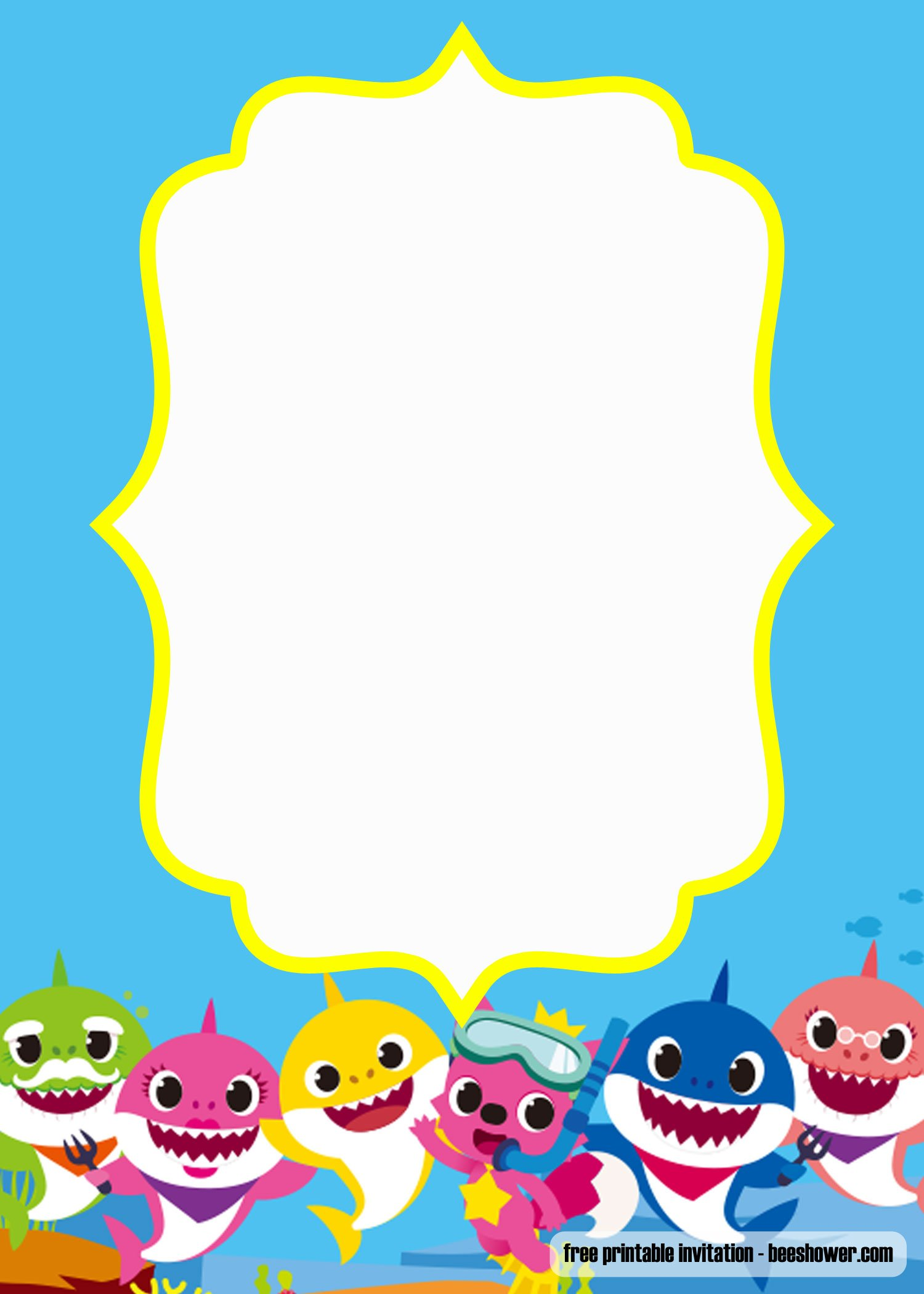 We Have Designed A New Baby Shark Pinkfong Template Below