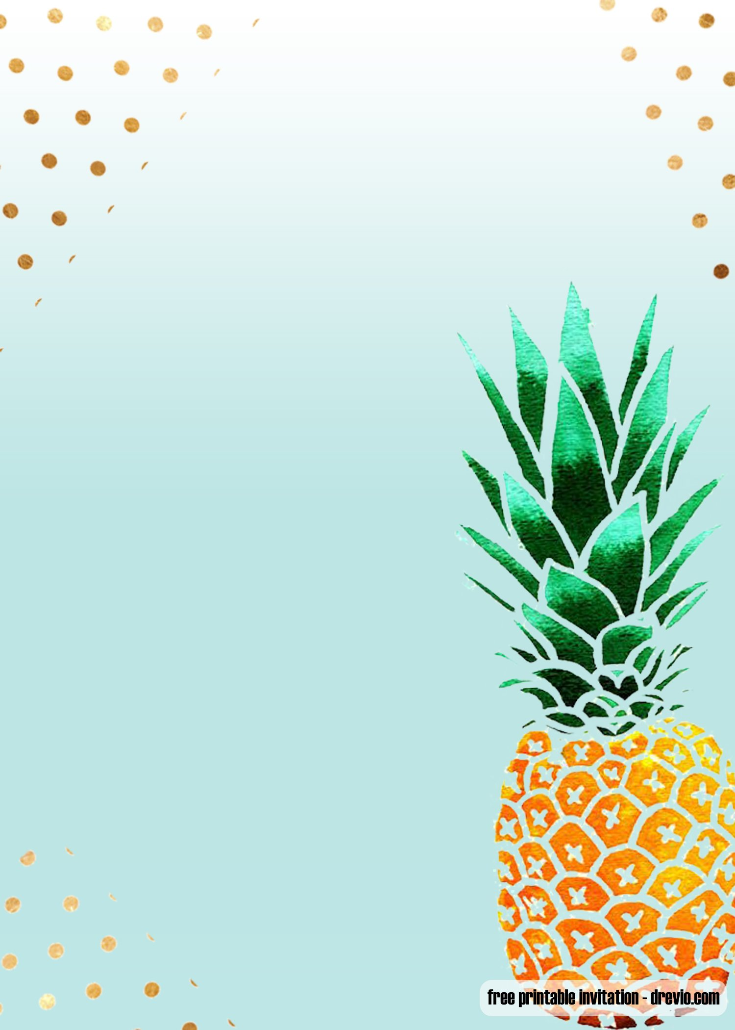 free printable aloha pineapple birthday invitation