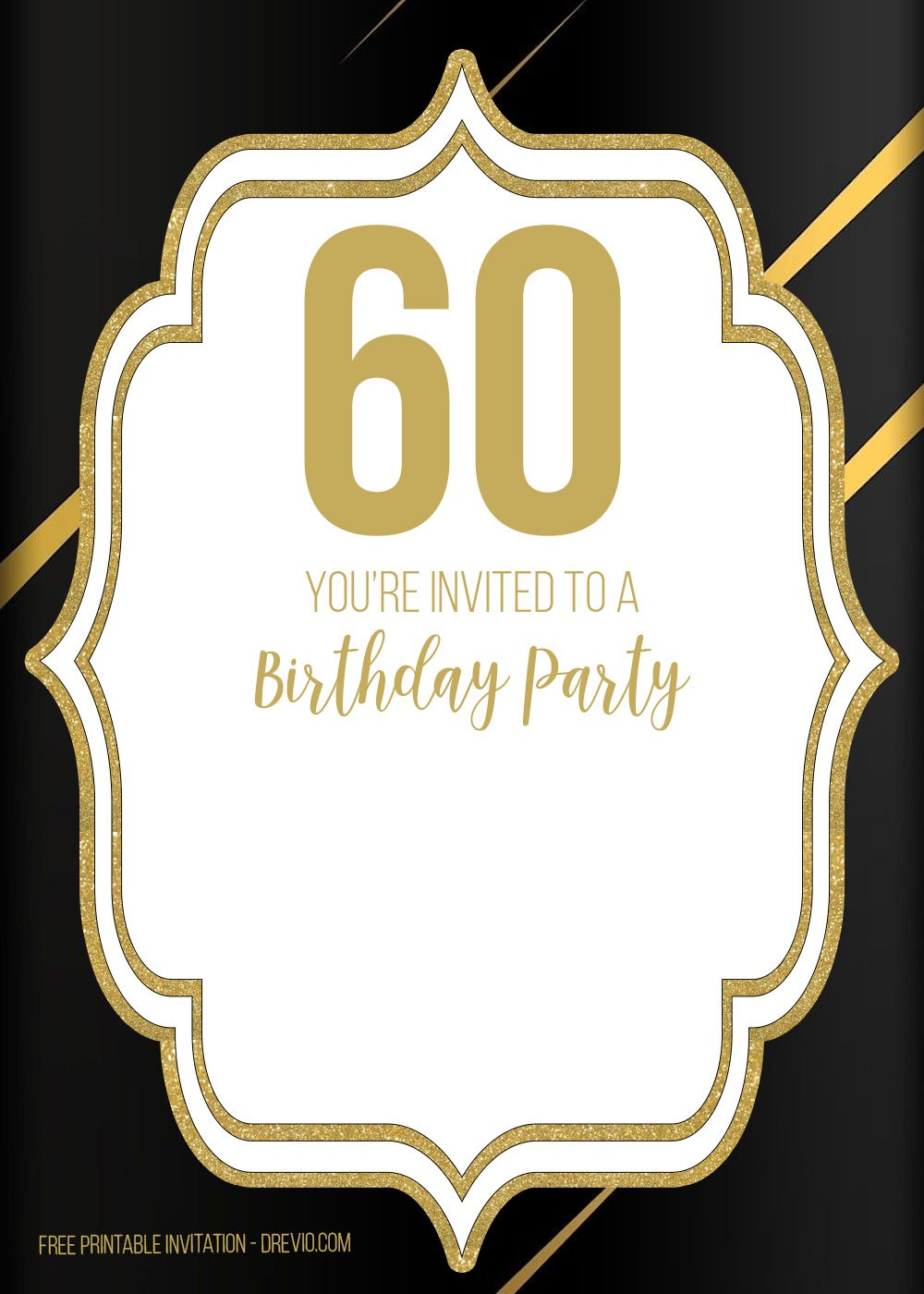 FREE 60th Birthday Invitation Template Elegant Shiny Black Download It Below