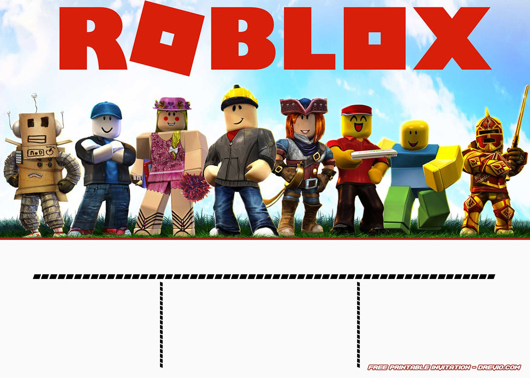 free printable roblox invitation templates