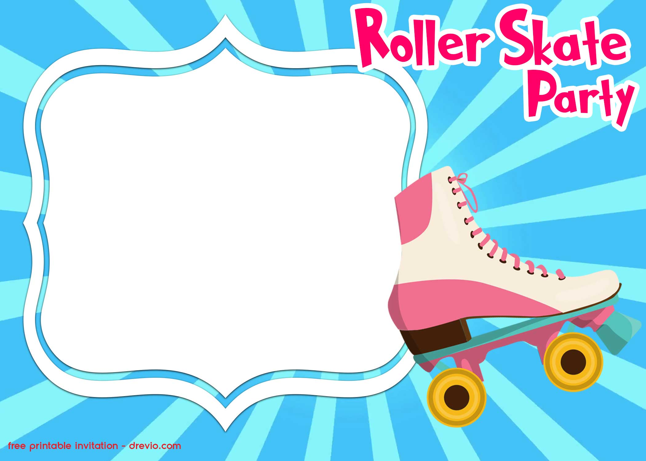image about Free Printable Roller Skate Template identified as No cost Printable Roller Skating Invitation Template - No cost