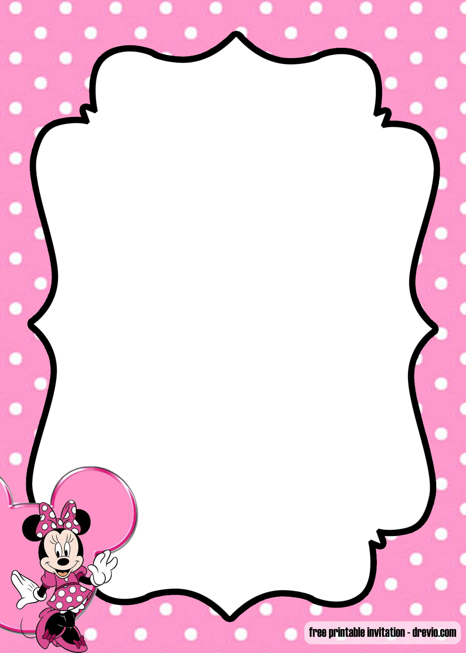free minnie mouse kids polkadot invitation templates
