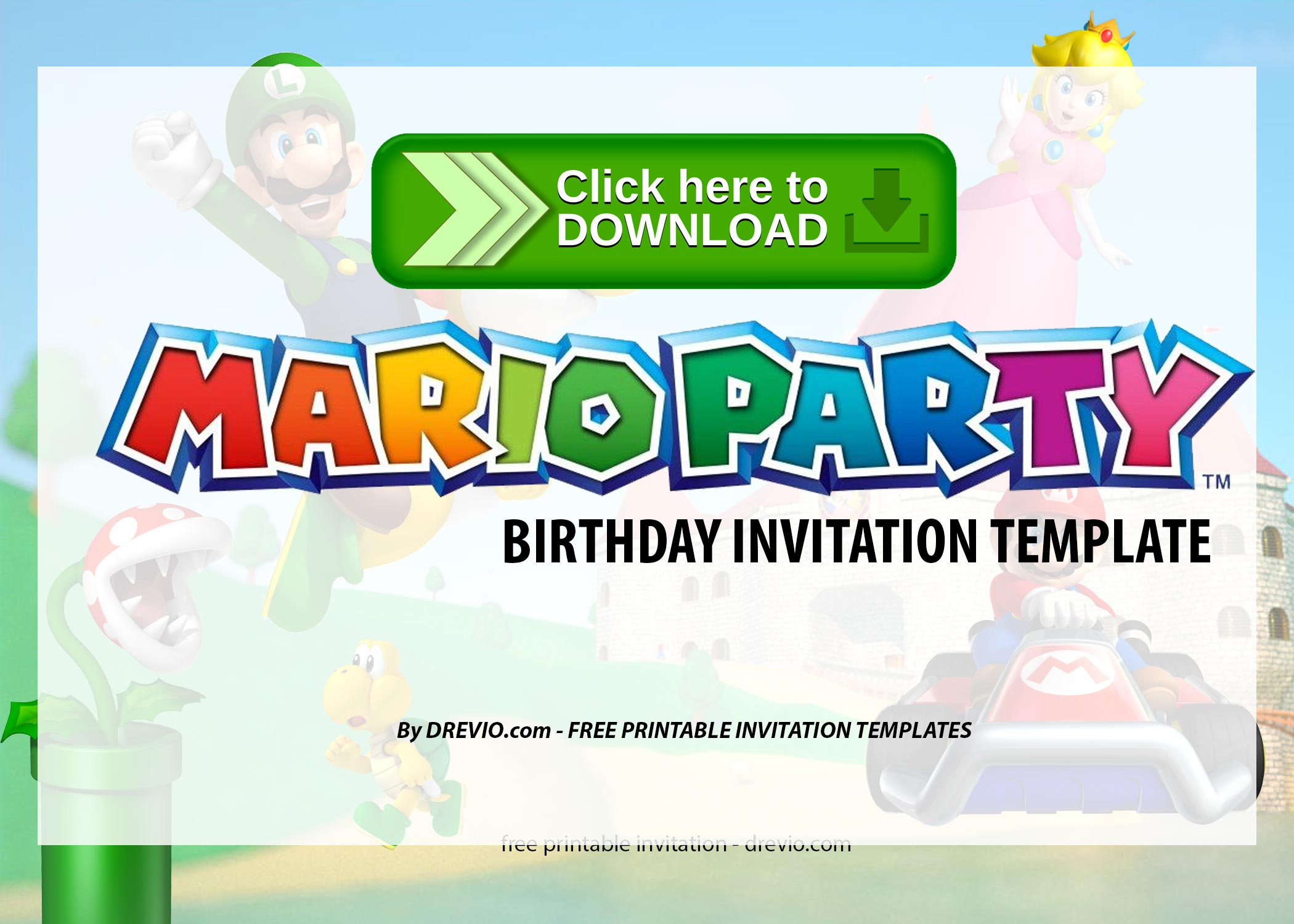 Free Printable Super Mario Party Birthday Invitation Templates Drevio