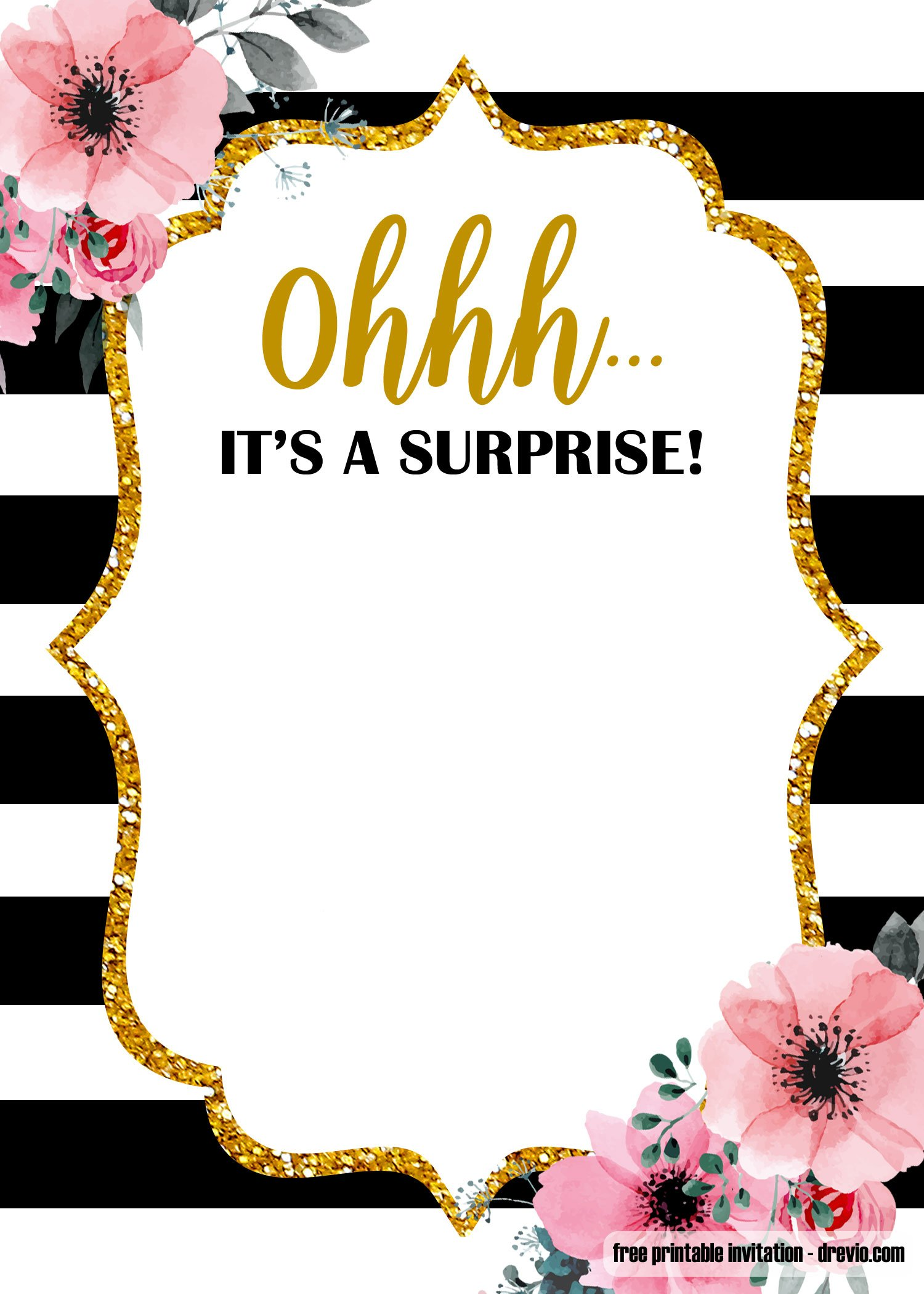 free printable surprise party birthday invitation