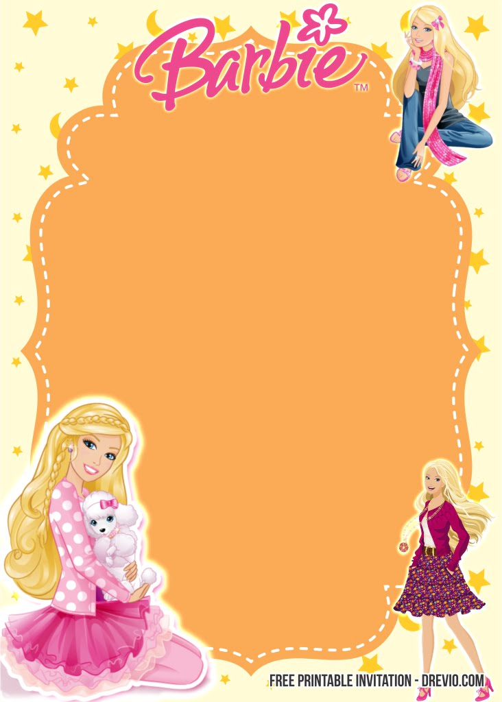 free printable barbie birthday invitation templates