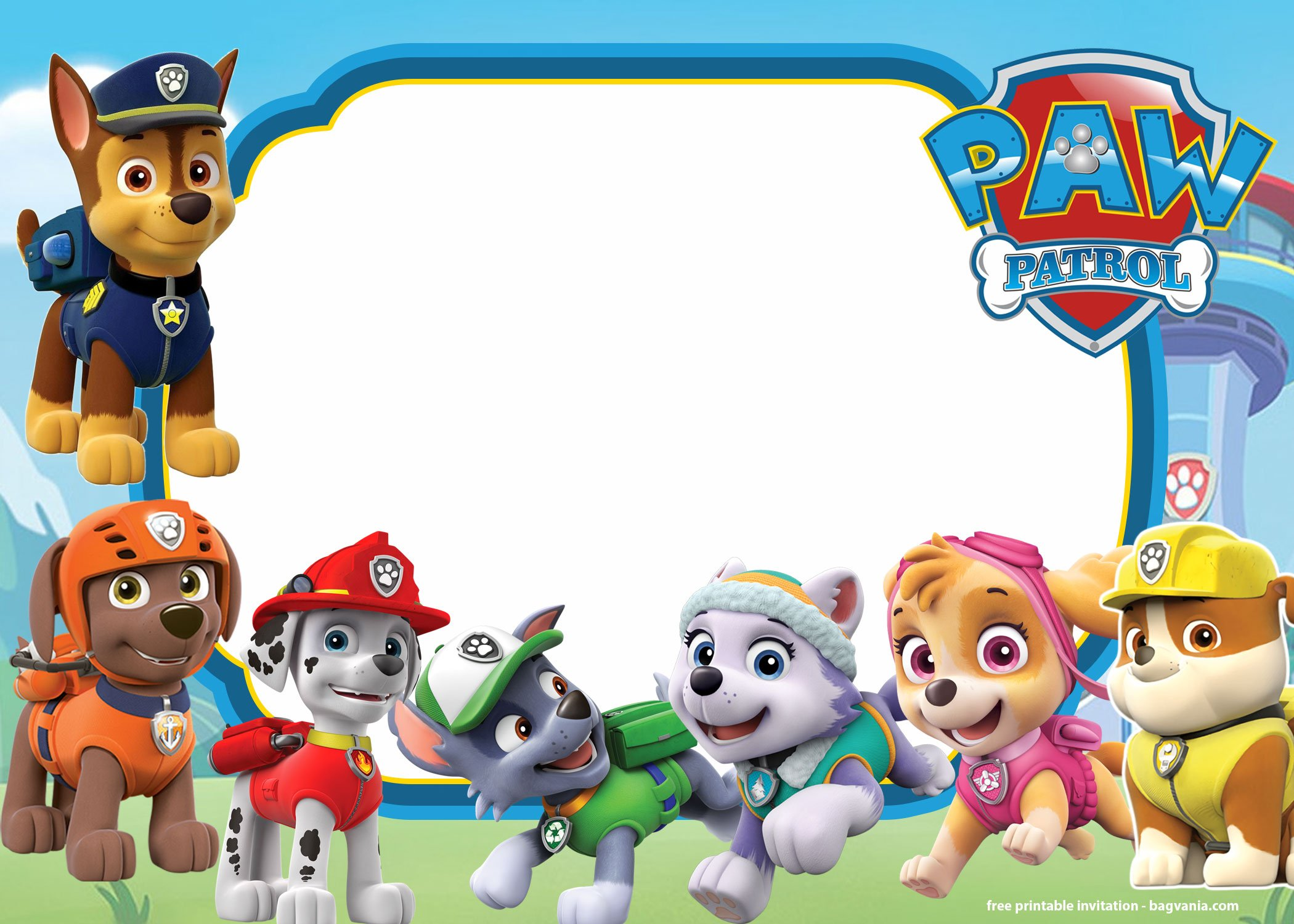 free printable paw patrol invitation templates