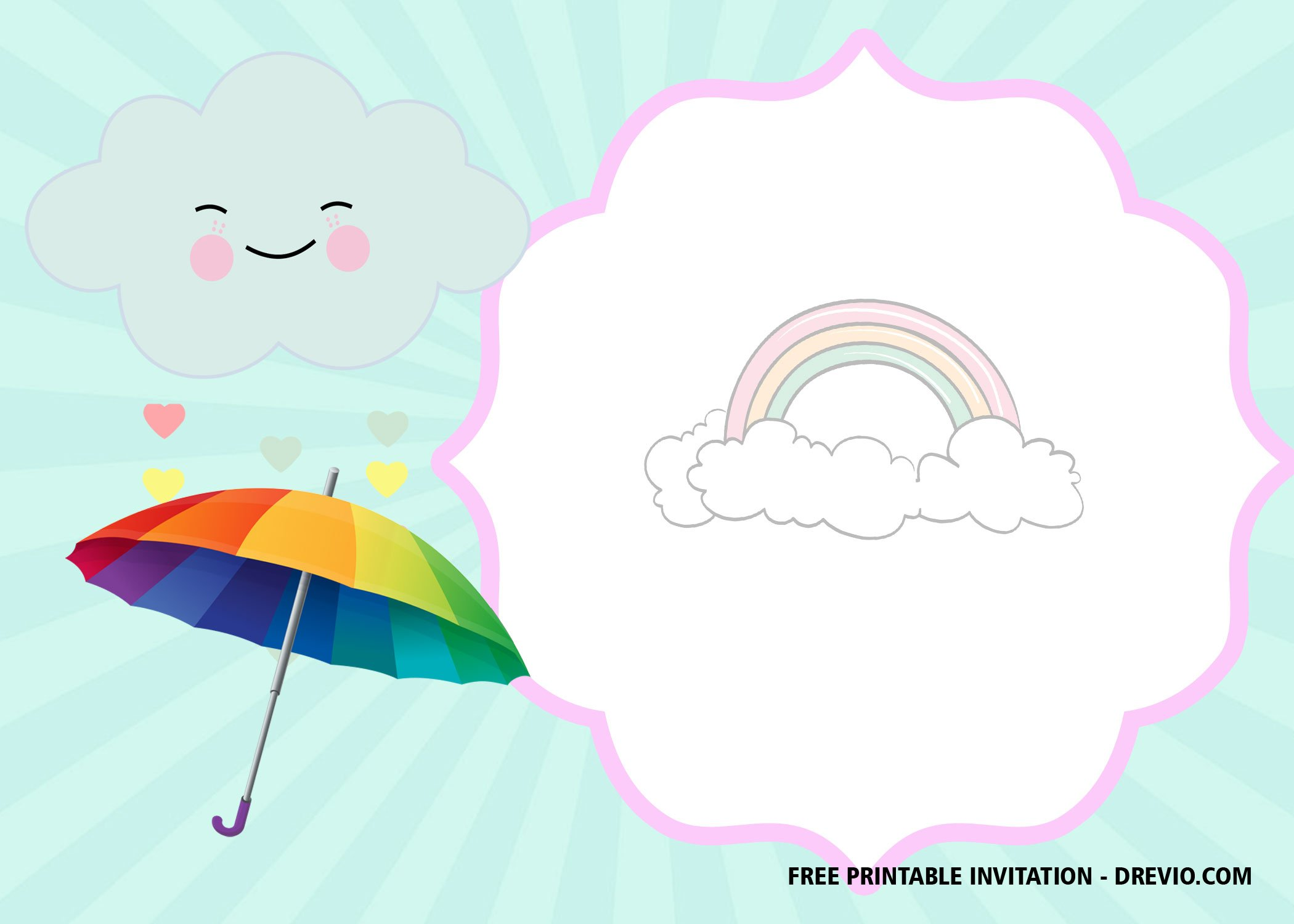 image relating to Printable Cloud titled Absolutely free Printable Cloud Invitation Templates  Totally free