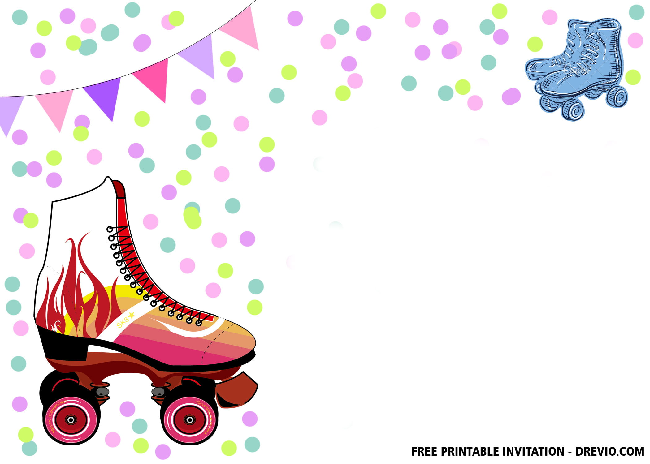 picture regarding Free Printable Roller Skate Party Invitations called Totally free Printable Roller Skates Invitation Templates - Cost-free