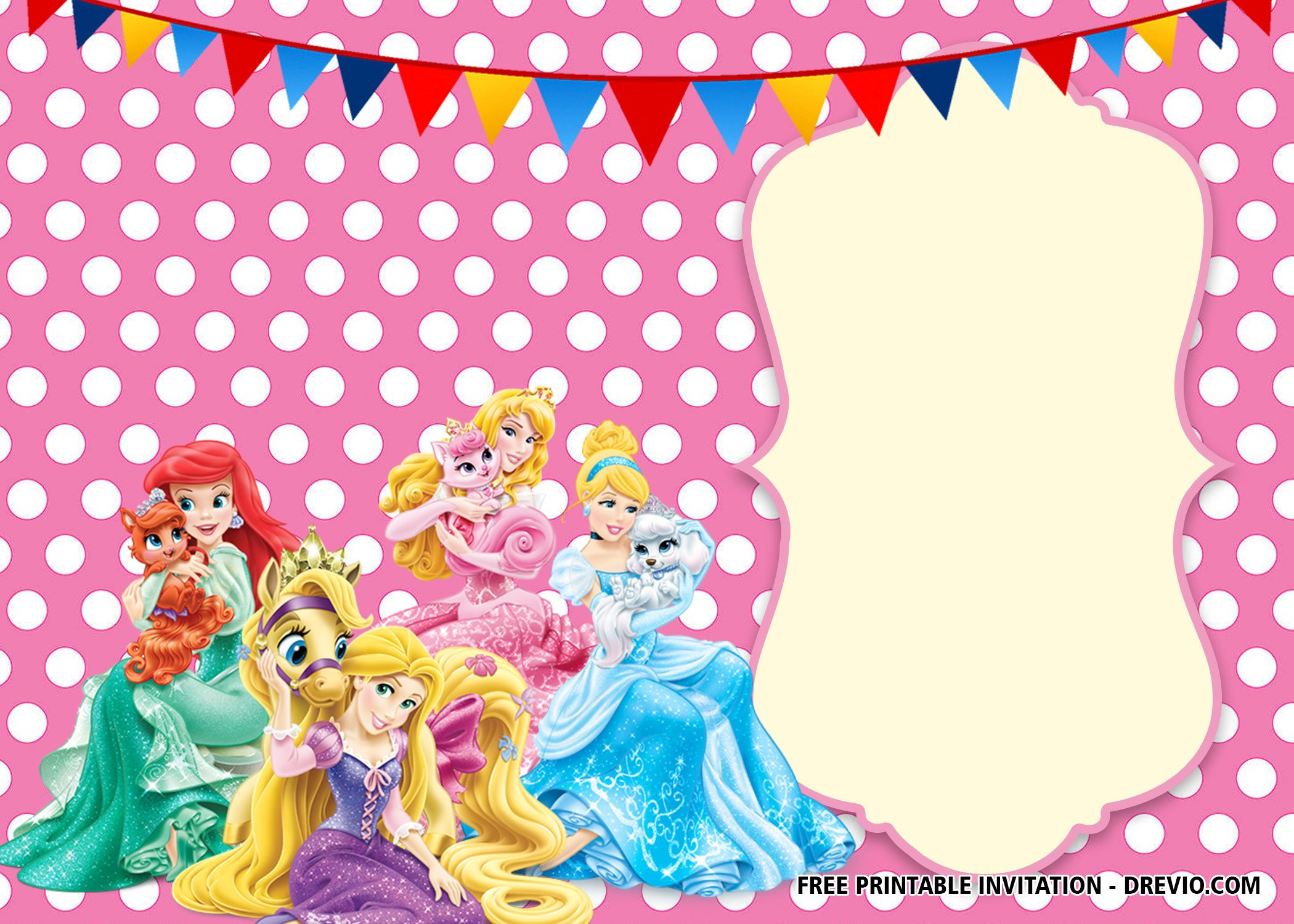 image relating to Disney Princess Birthday Invitations Free Printable known as Free of charge Printable Disney Princess Polkadot Invitation Templates