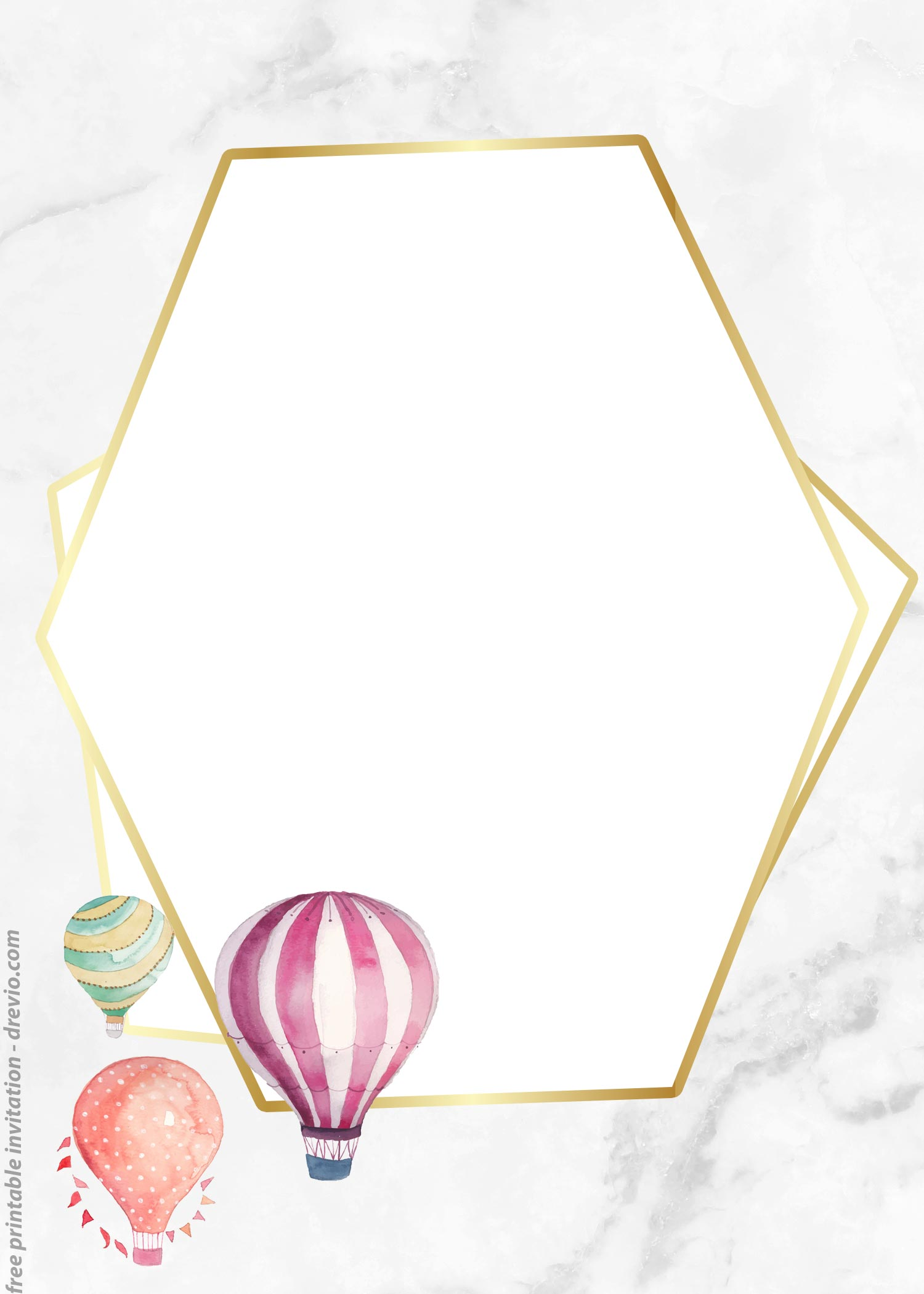 photograph about Hot Air Balloon Pattern Printable named Free of charge Watercolor Sizzling Air Balloon Basic Invitation Templates