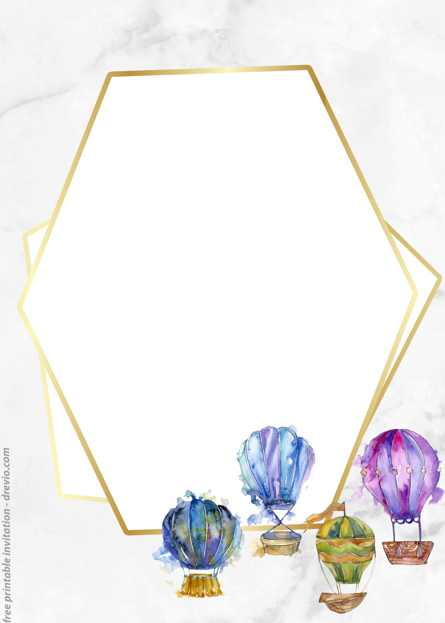 photo about Oh the Places You'll Go Balloon Printable Template named Absolutely free Watercolor Incredibly hot Air Balloon Classic Invitation Templates